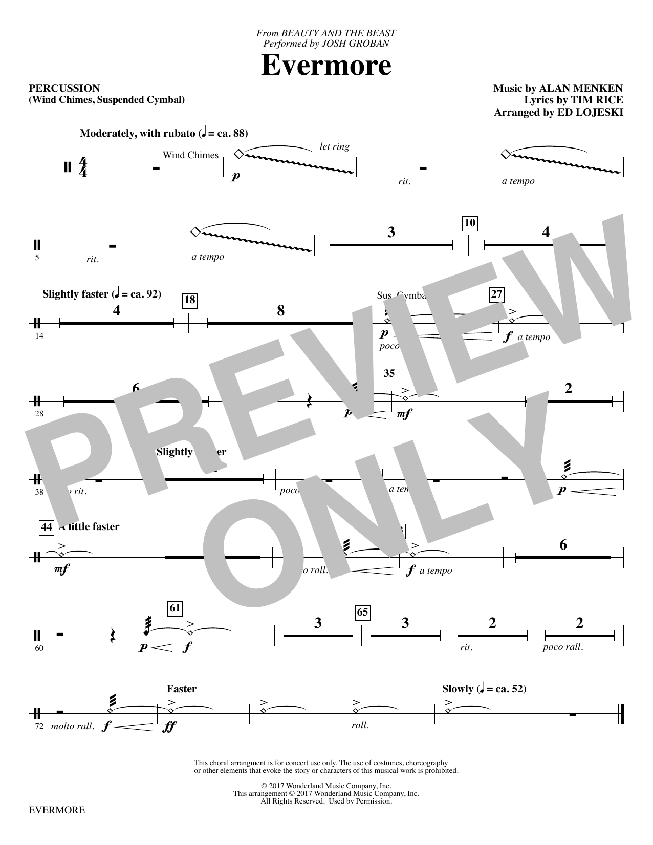 Evermore - Percussion Sheet Music