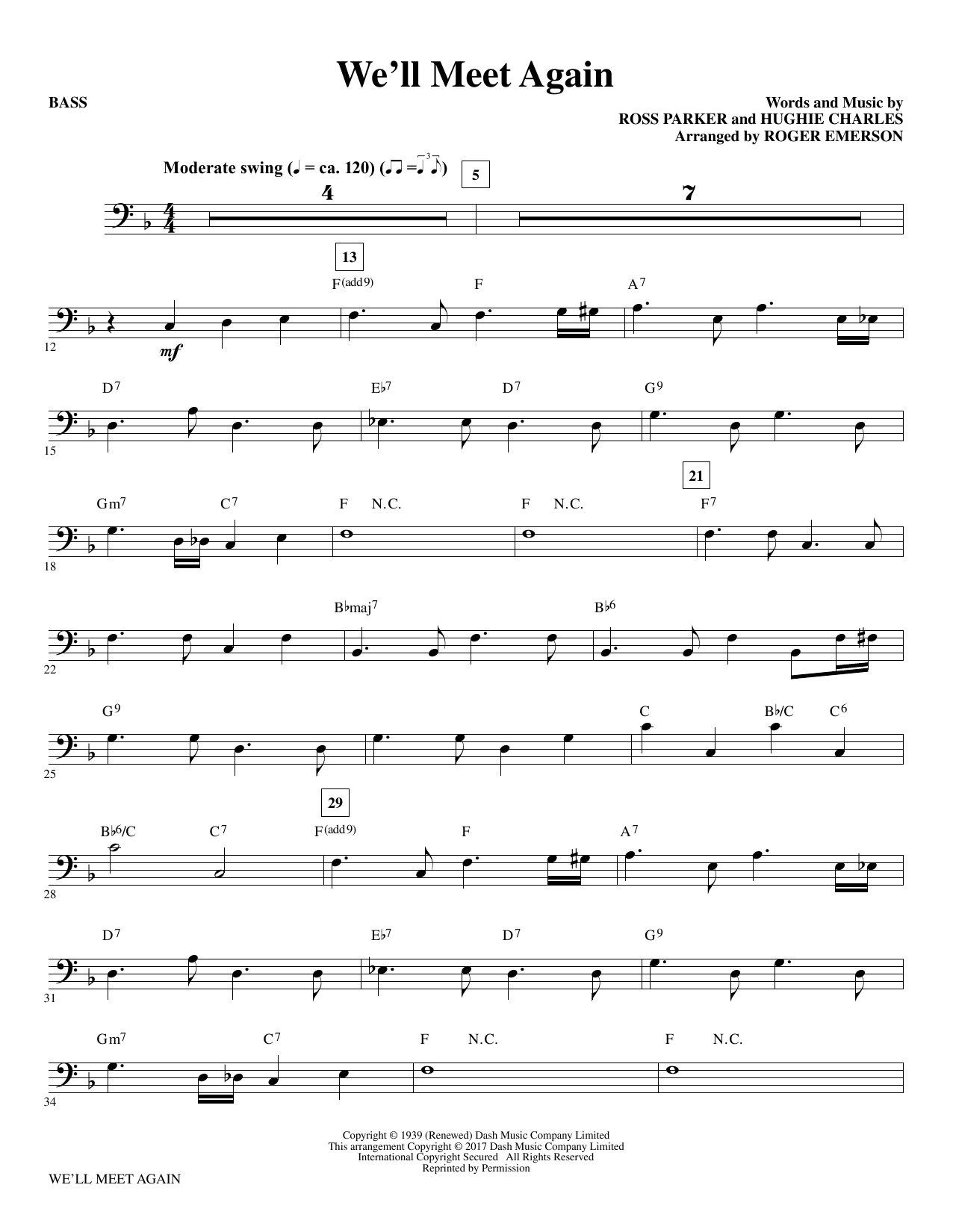 We'll Meet Again (arr. Roger Emerson) - Bass Sheet Music