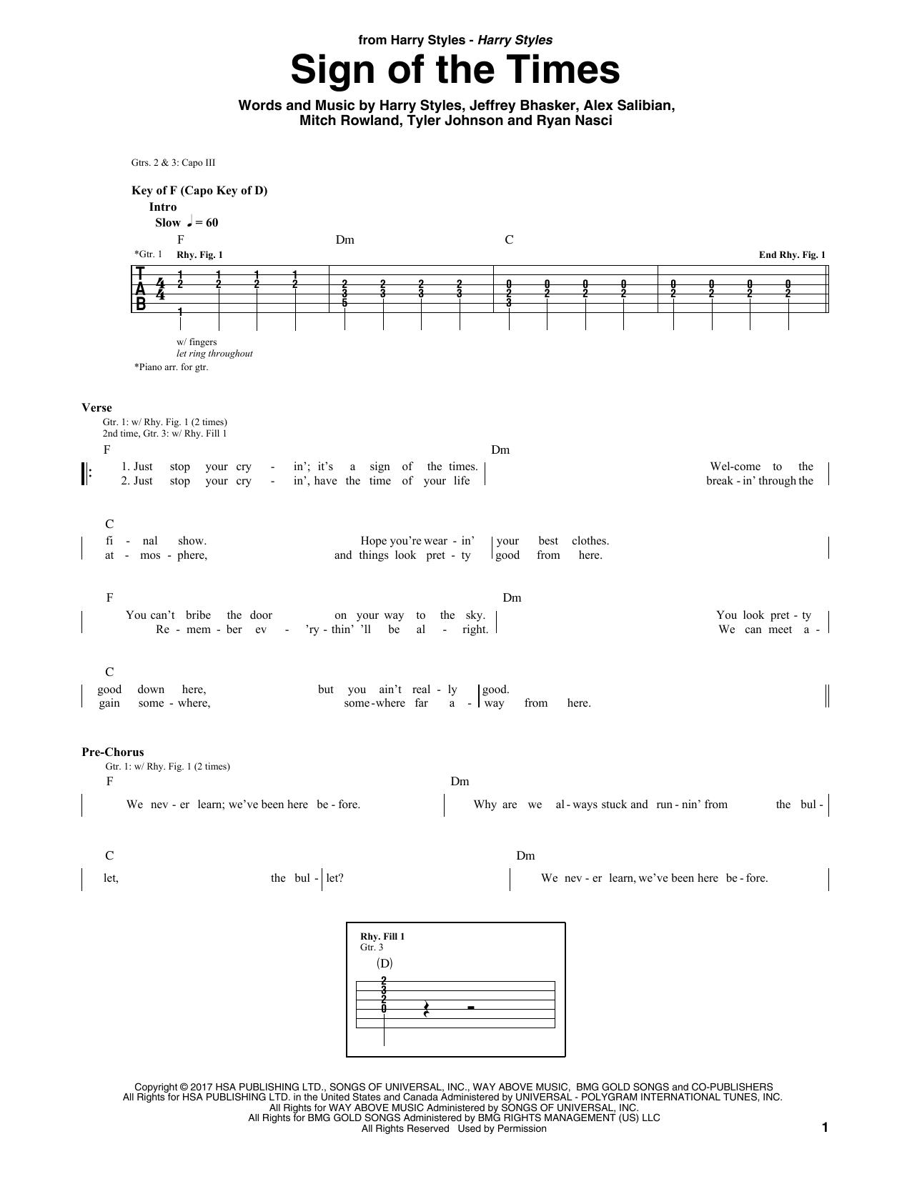 Sign Of The Times (Guitar Rhythm Tab)