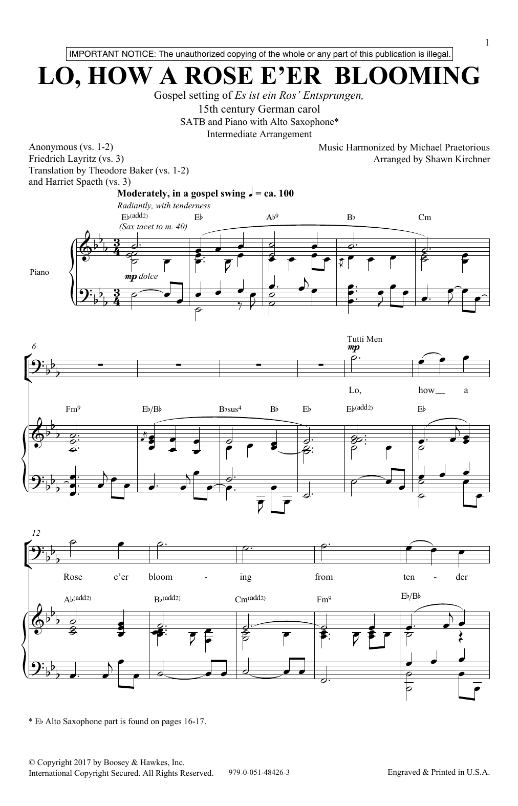 lo how a rose eer blooming satb double choir sheet music