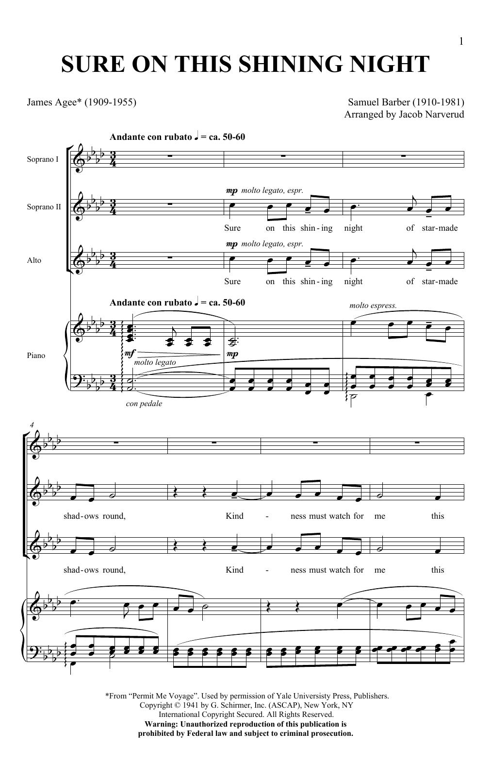 Sure On This Shining Night (SSA Choir)