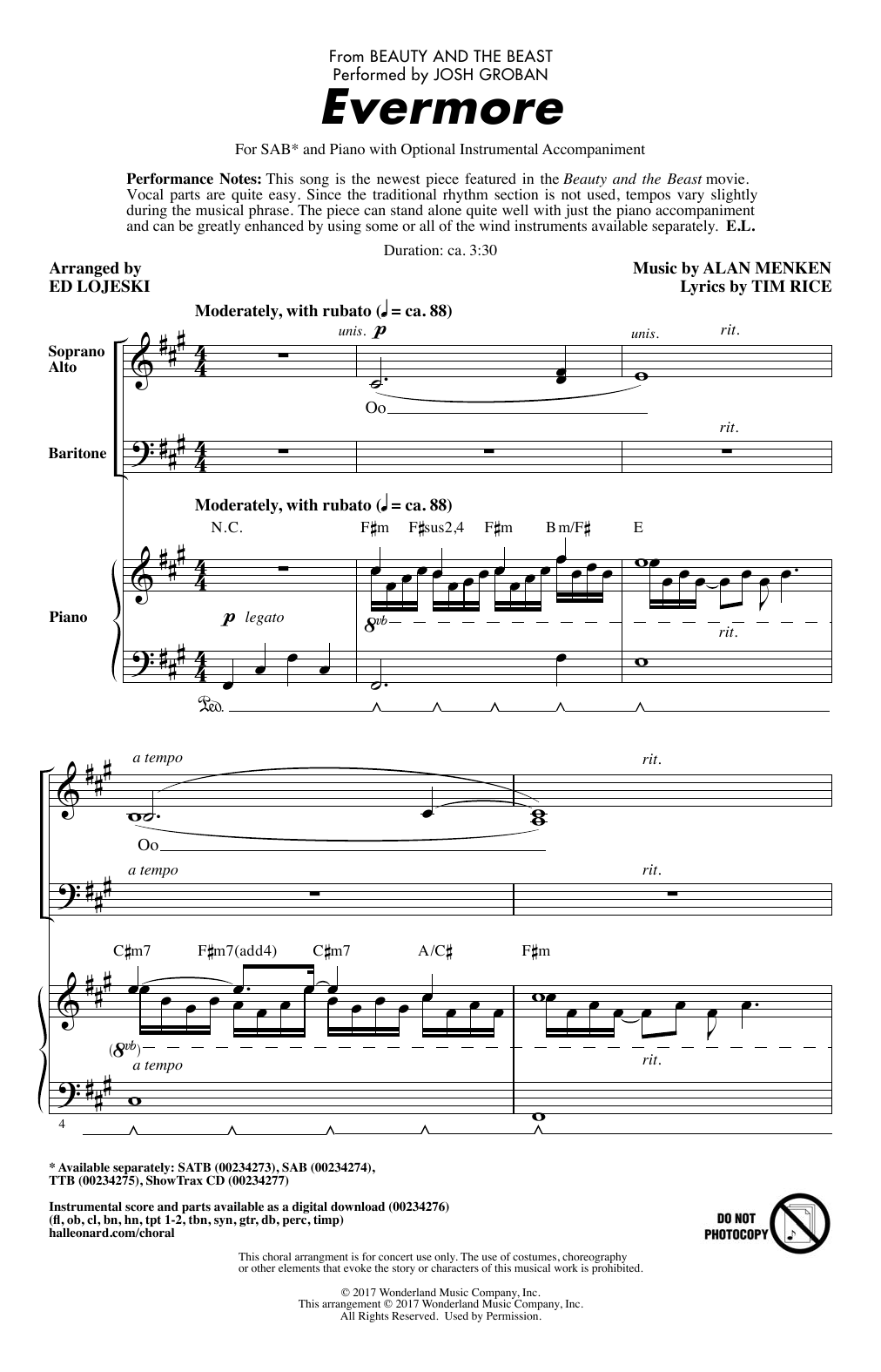 Evermore From Beauty And The Beast Arr Ed Lojeski By Josh Groban Sab Choir Digital Sheet Music