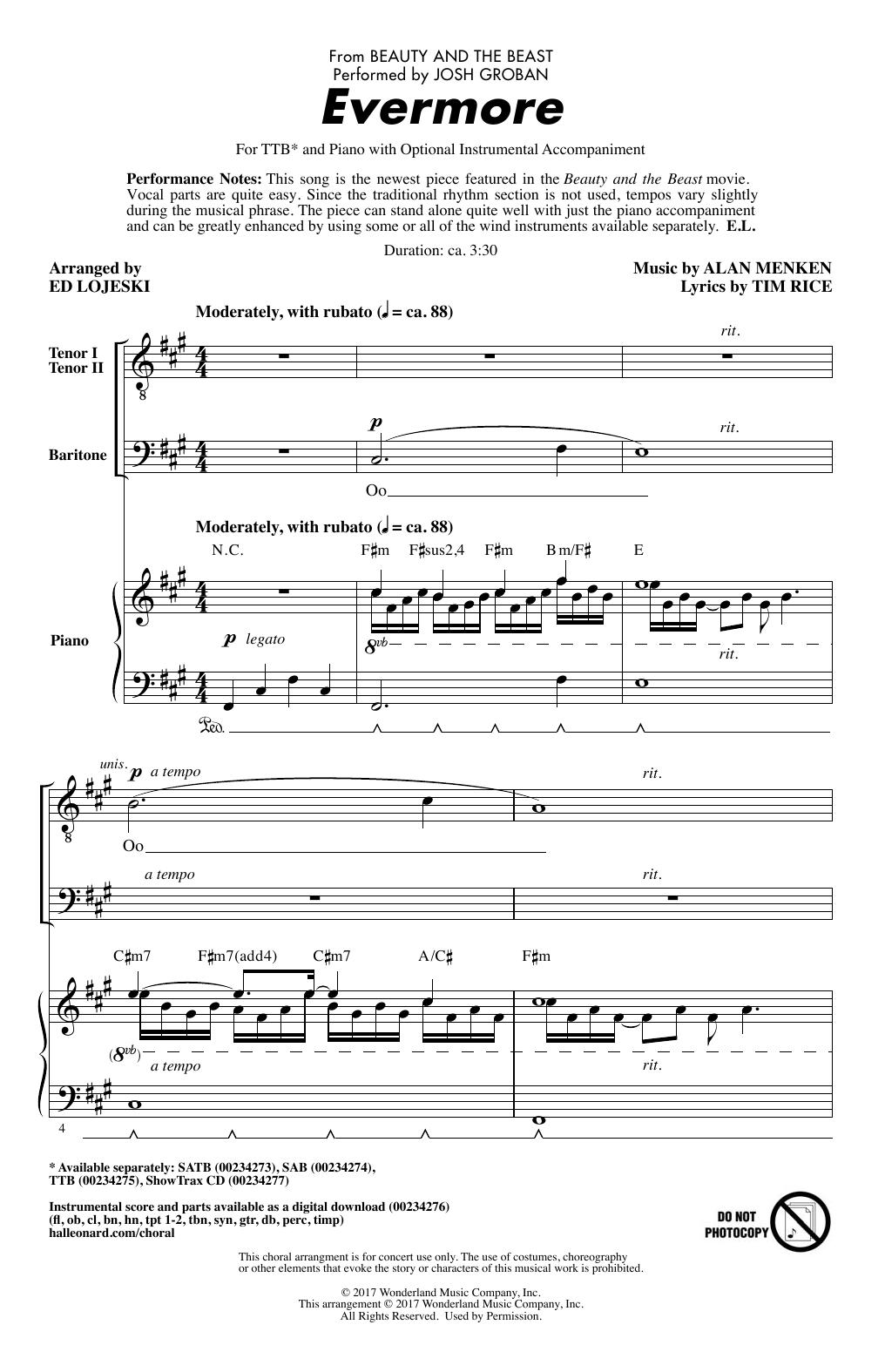 Evermore (from 'Beauty And The Beast') (arr. Ed Lojeski) (TTBB Choir)