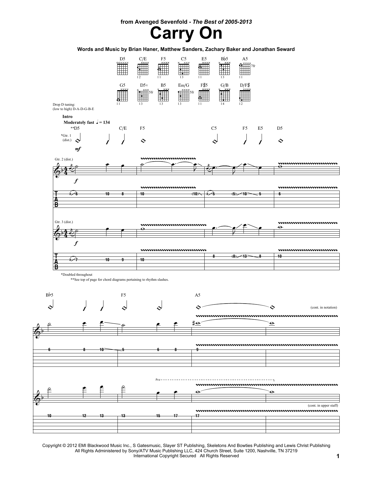 Carry On (Guitar Tab)