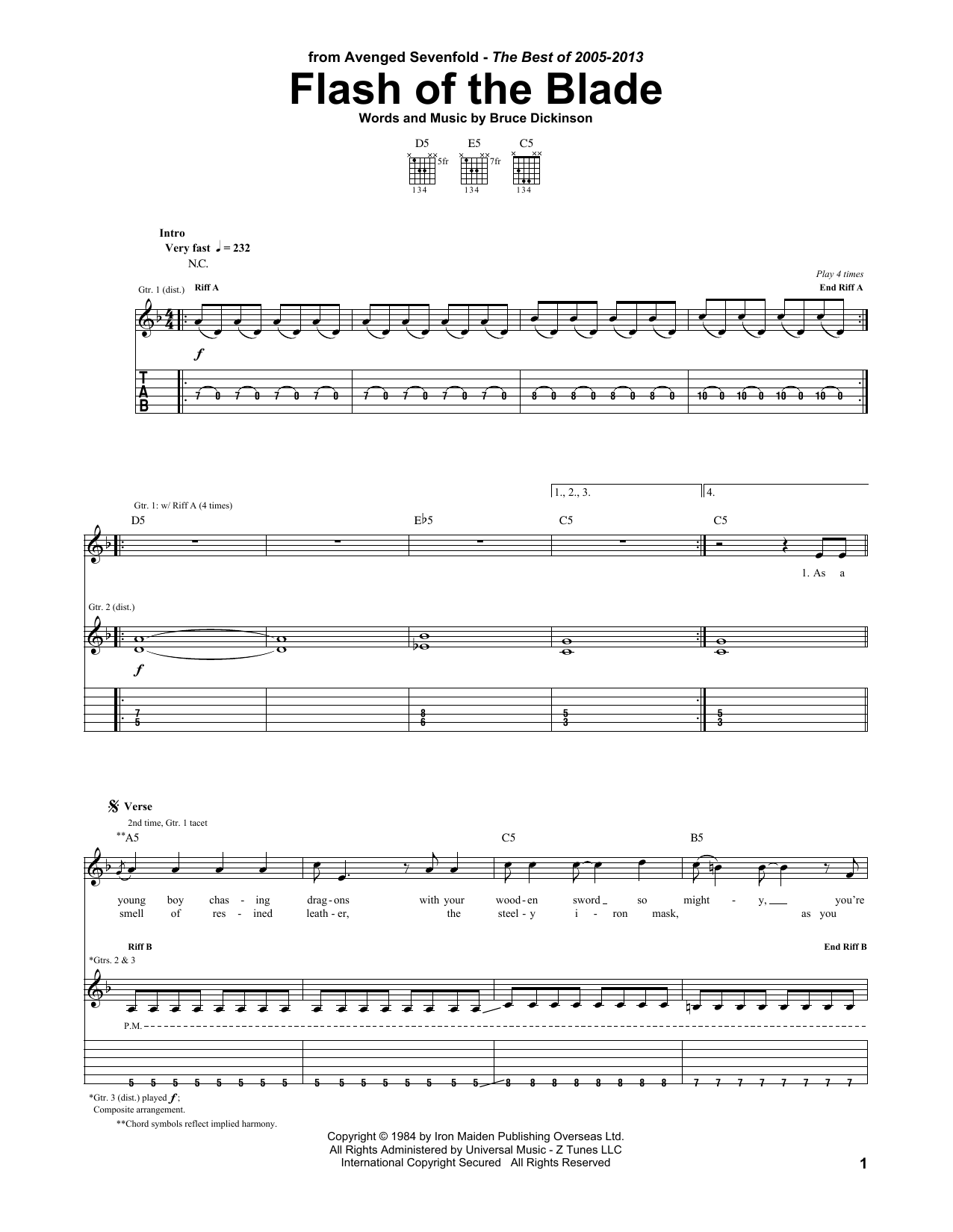 Flash Of The Blade Sheet Music Avenged Sevenfold Guitar Tab