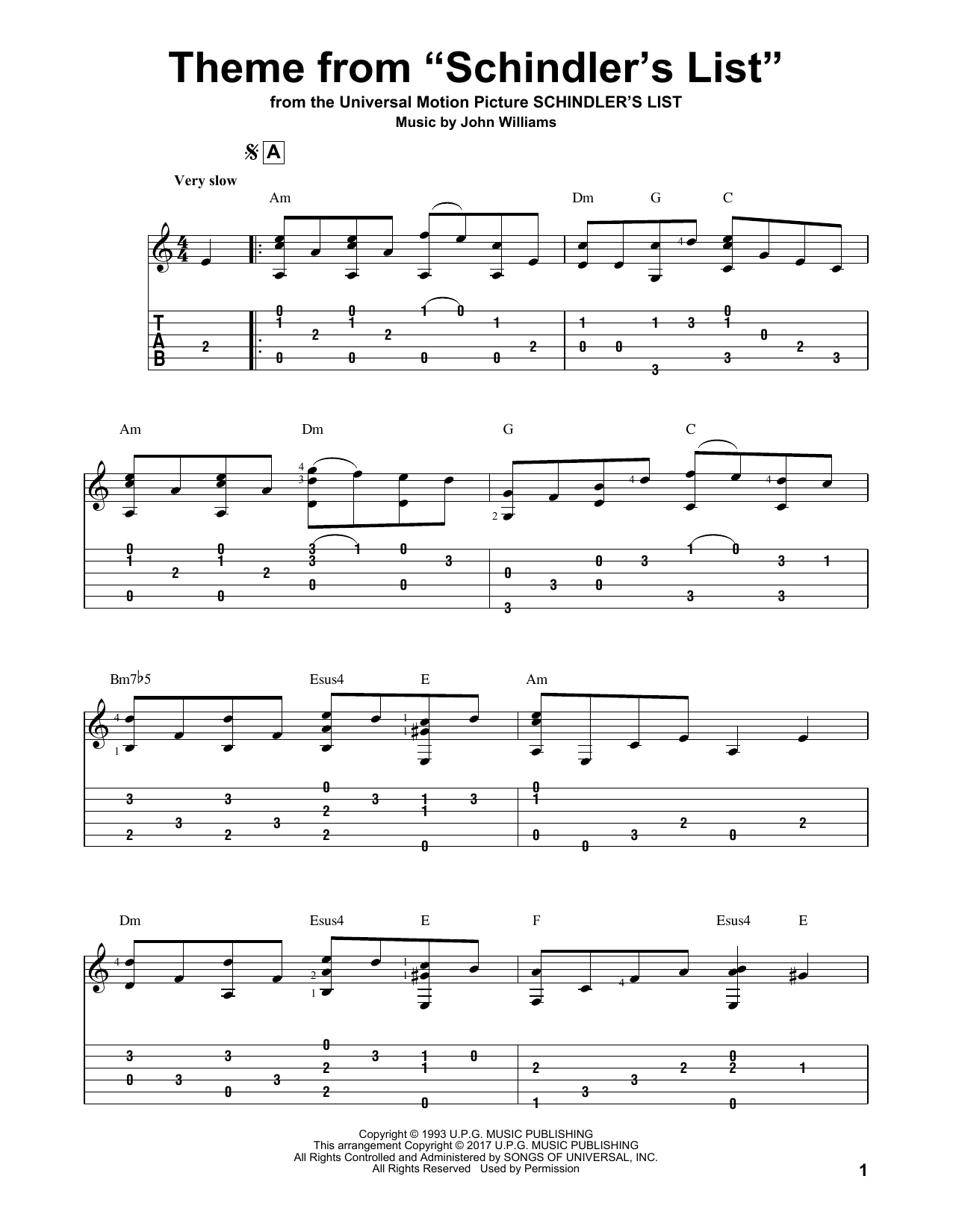 "Theme From ""Schindler's List"" (Guitar Tab)"
