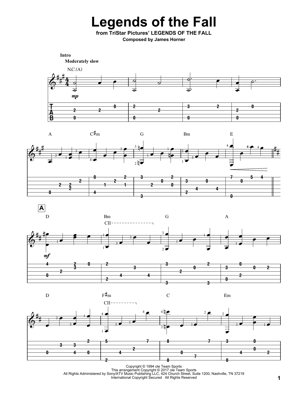 Legends Of The Fall (Solo Guitar Tab)