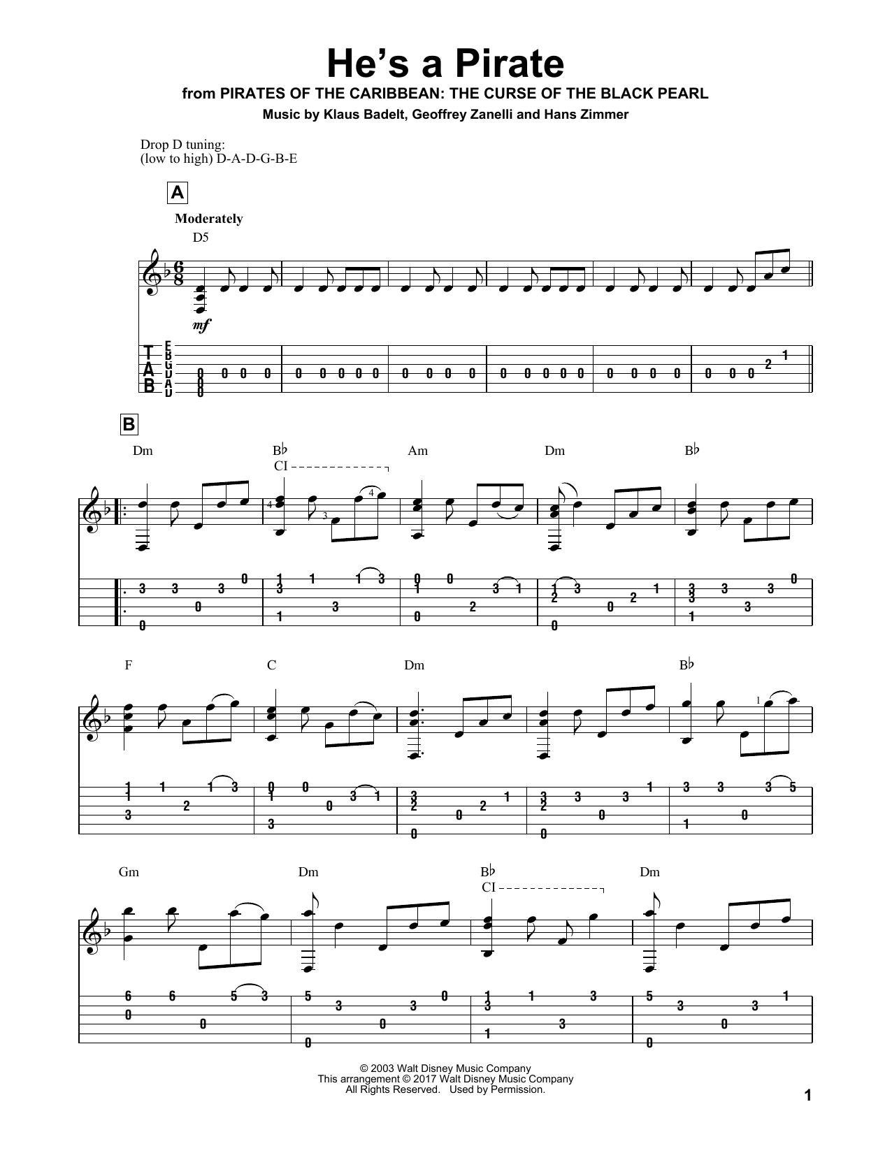 He's A Pirate (Solo Guitar Tab)