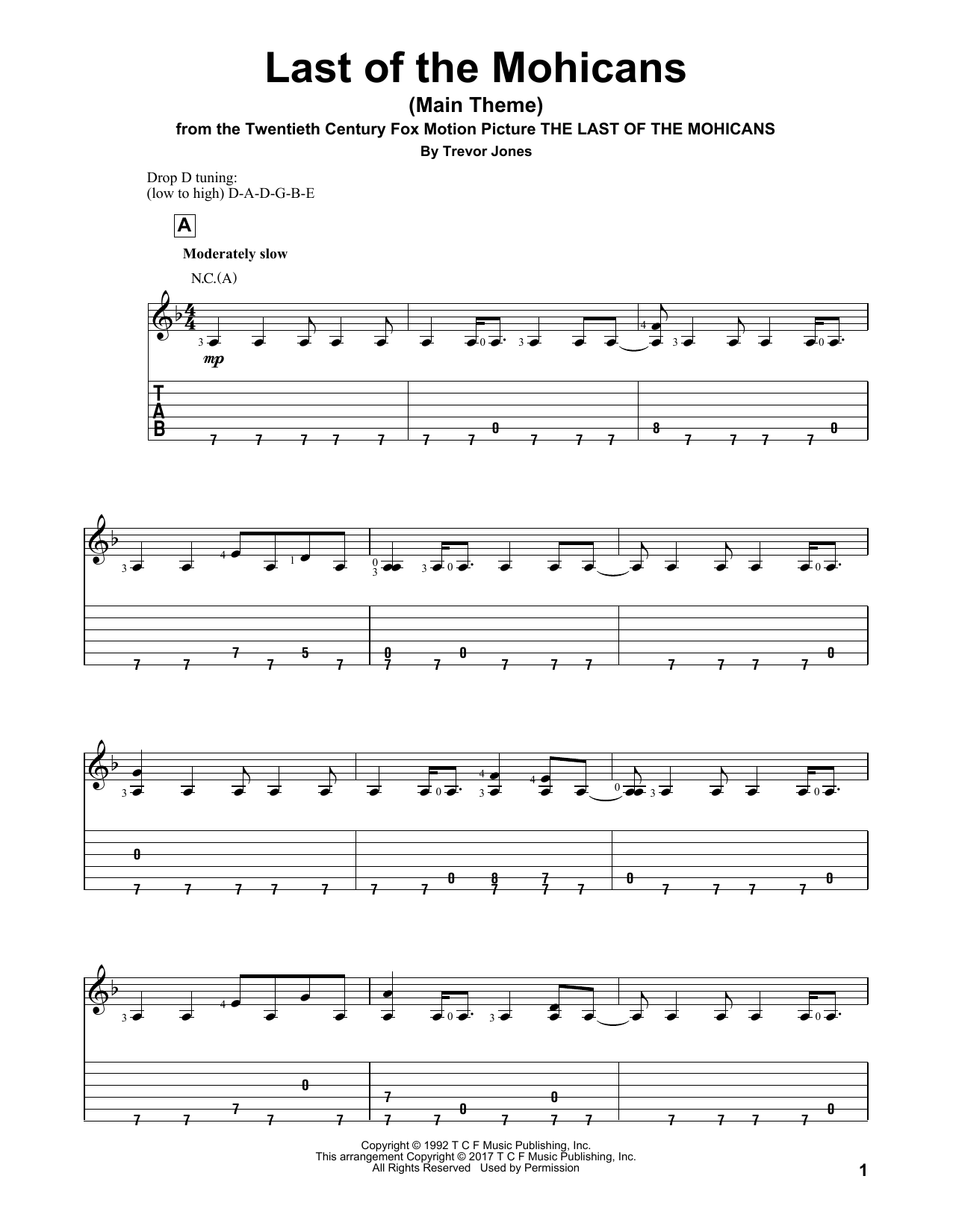 Last Of The Mohicans (Main Theme) Sheet Music