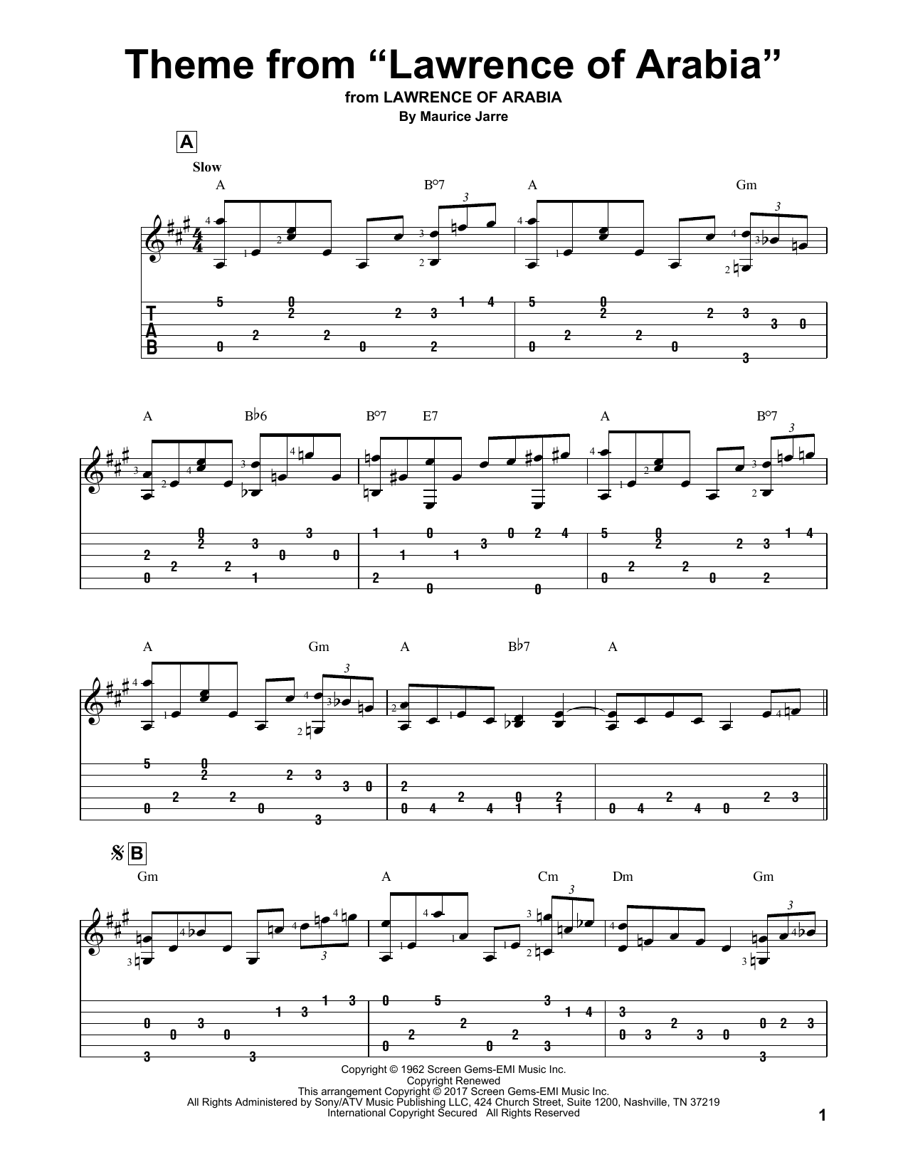 "Theme From ""Lawrence Of Arabia"" (Solo Guitar Tab)"