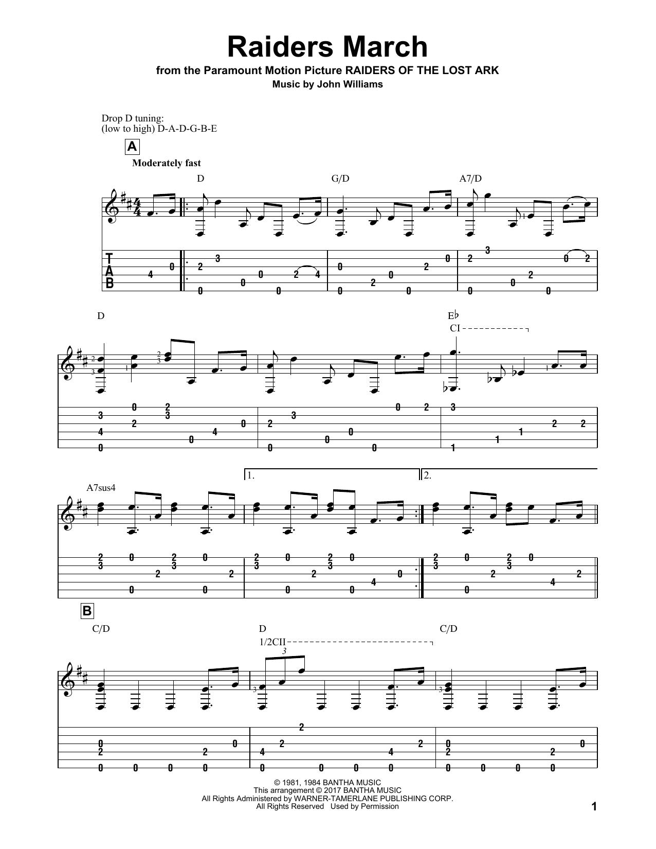 Tablature guitare Raiders March de John Williams - Tablature Guitare