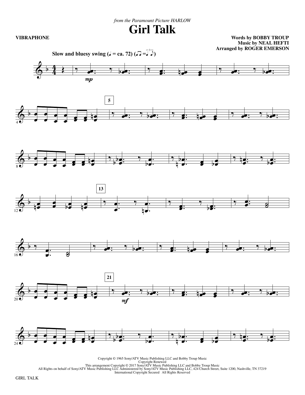 Girl Talk - Vibraphone Sheet Music