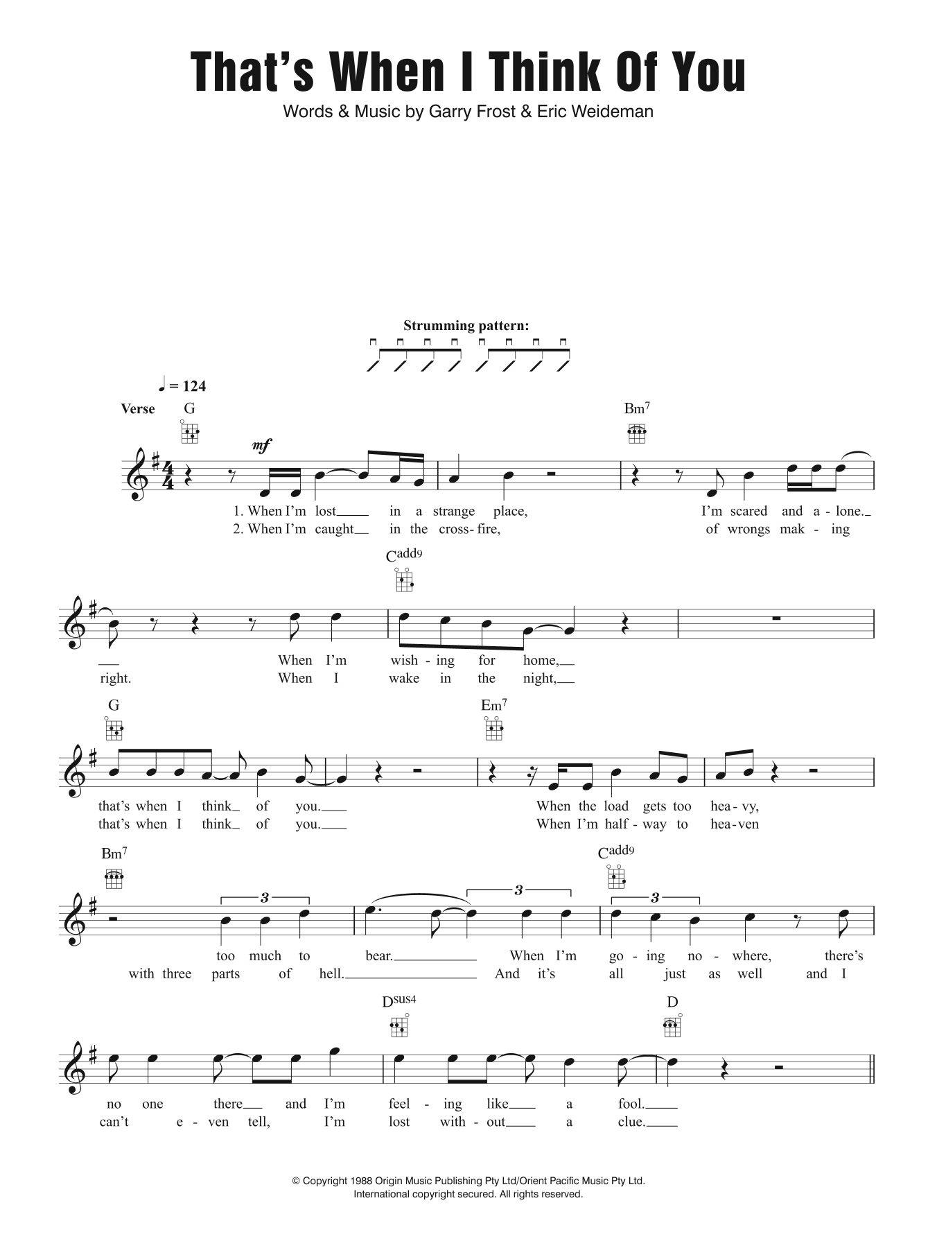 That's When I Think Of You Sheet Music
