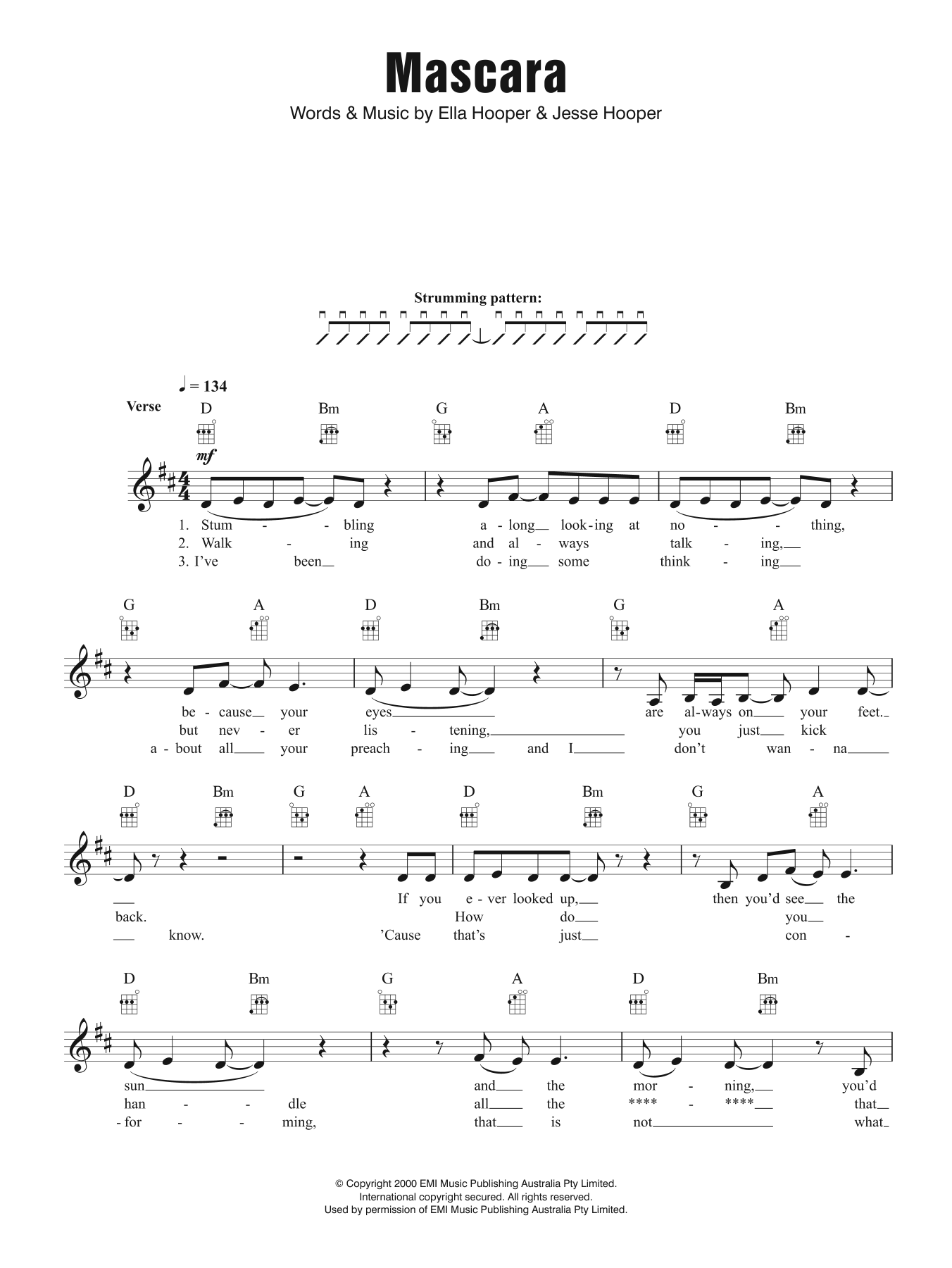 Mascara Sheet Music