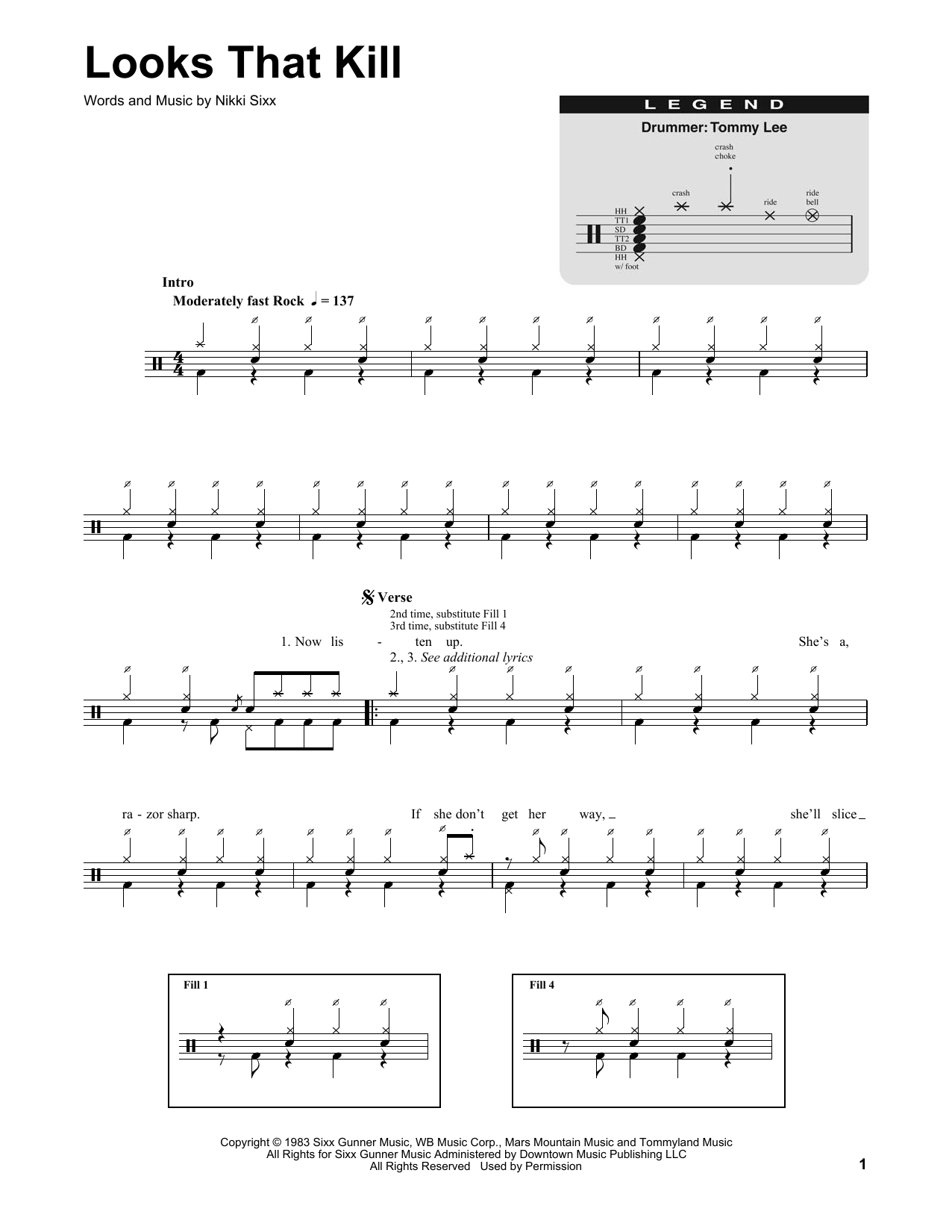 Looks That Kill (Drums Transcription)