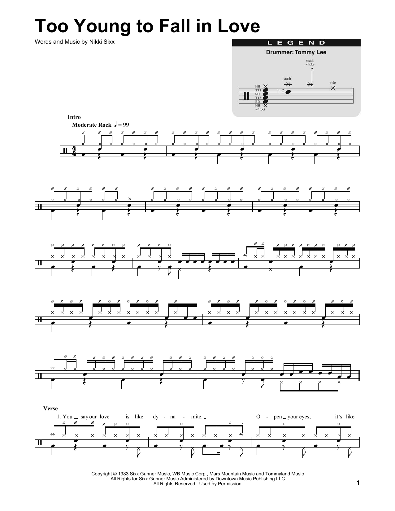 Too Young To Fall In Love (Drums Transcription)