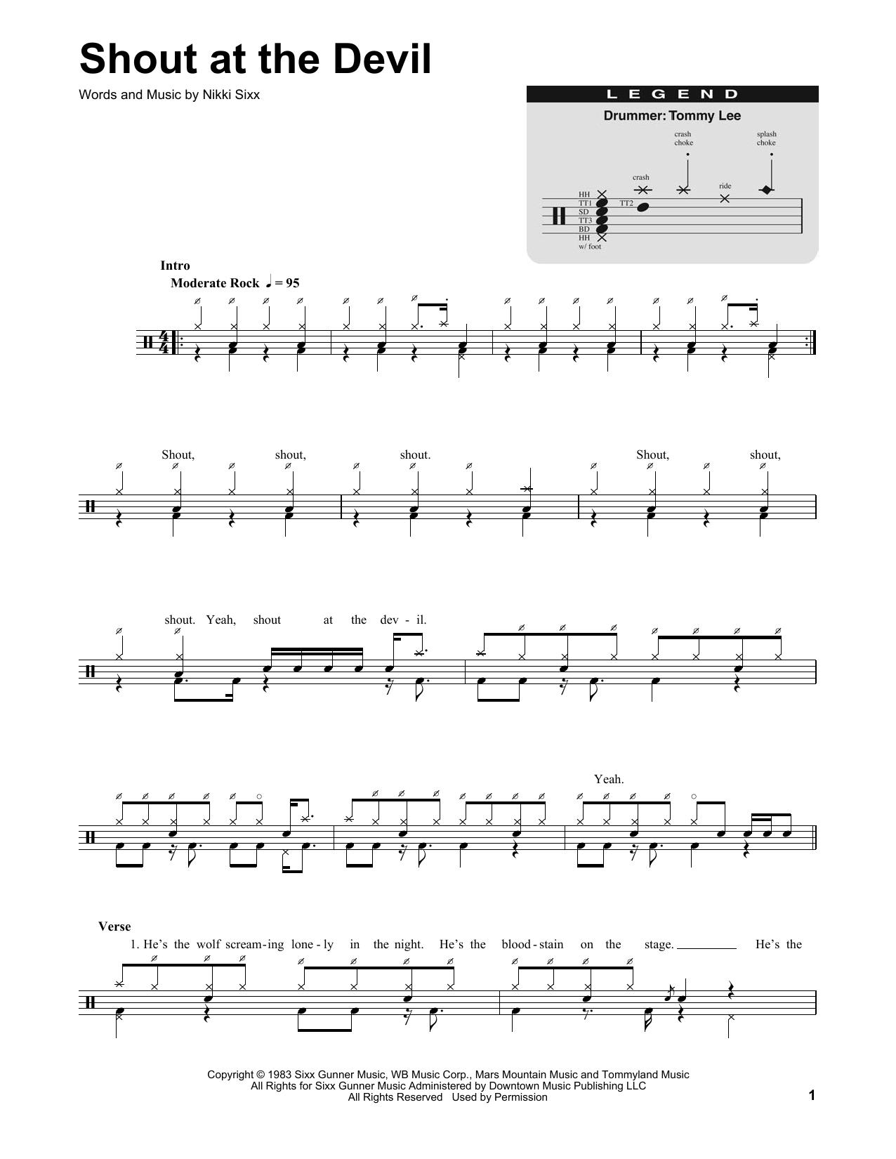 Shout At The Devil (Drums Transcription)
