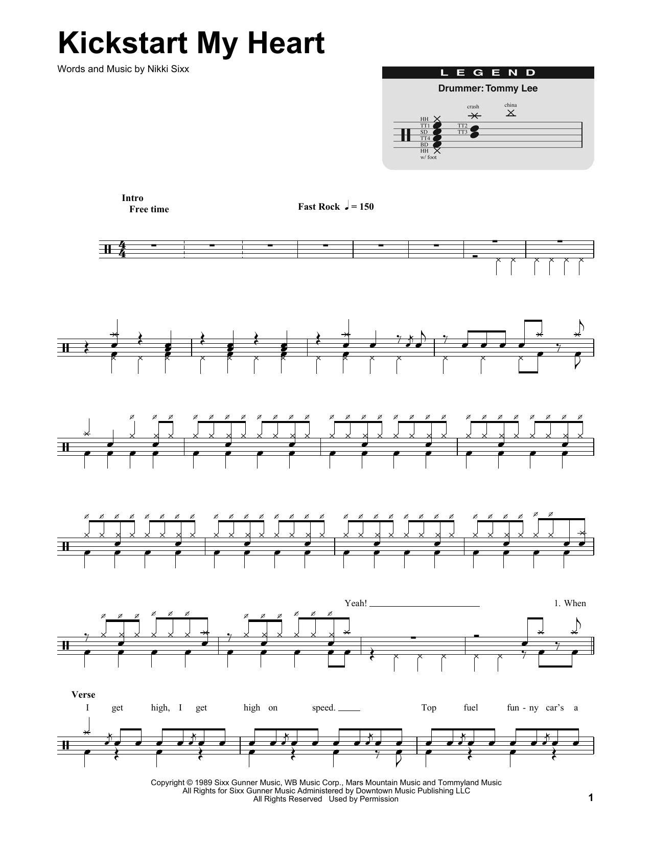 Kickstart My Heart (Drums Transcription)