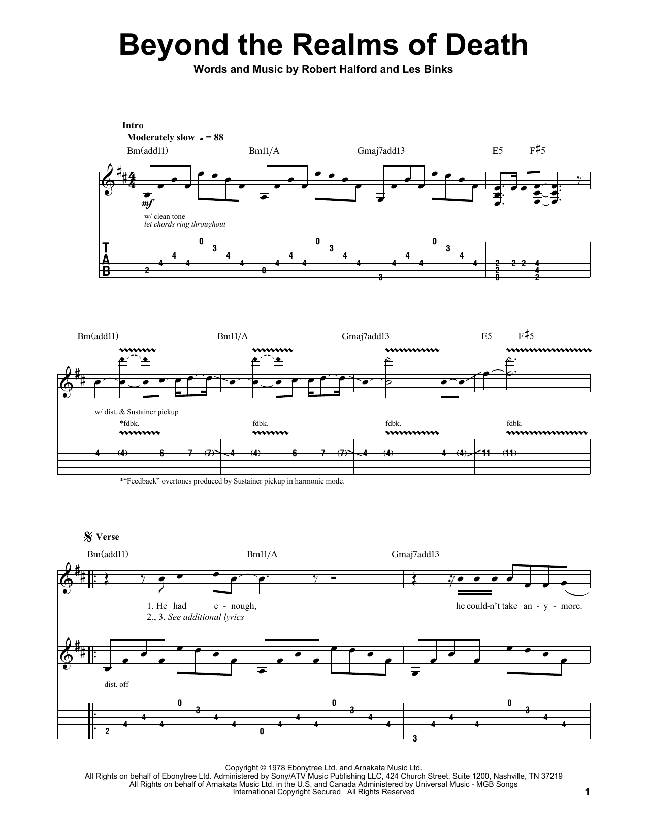 Beyond The Realms Of Death (Guitar Tab (Single Guitar))