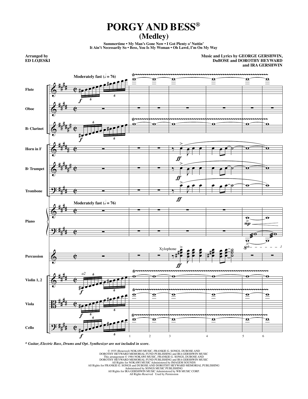 Porgy and Bess (Medley) - Full Score Partition Digitale