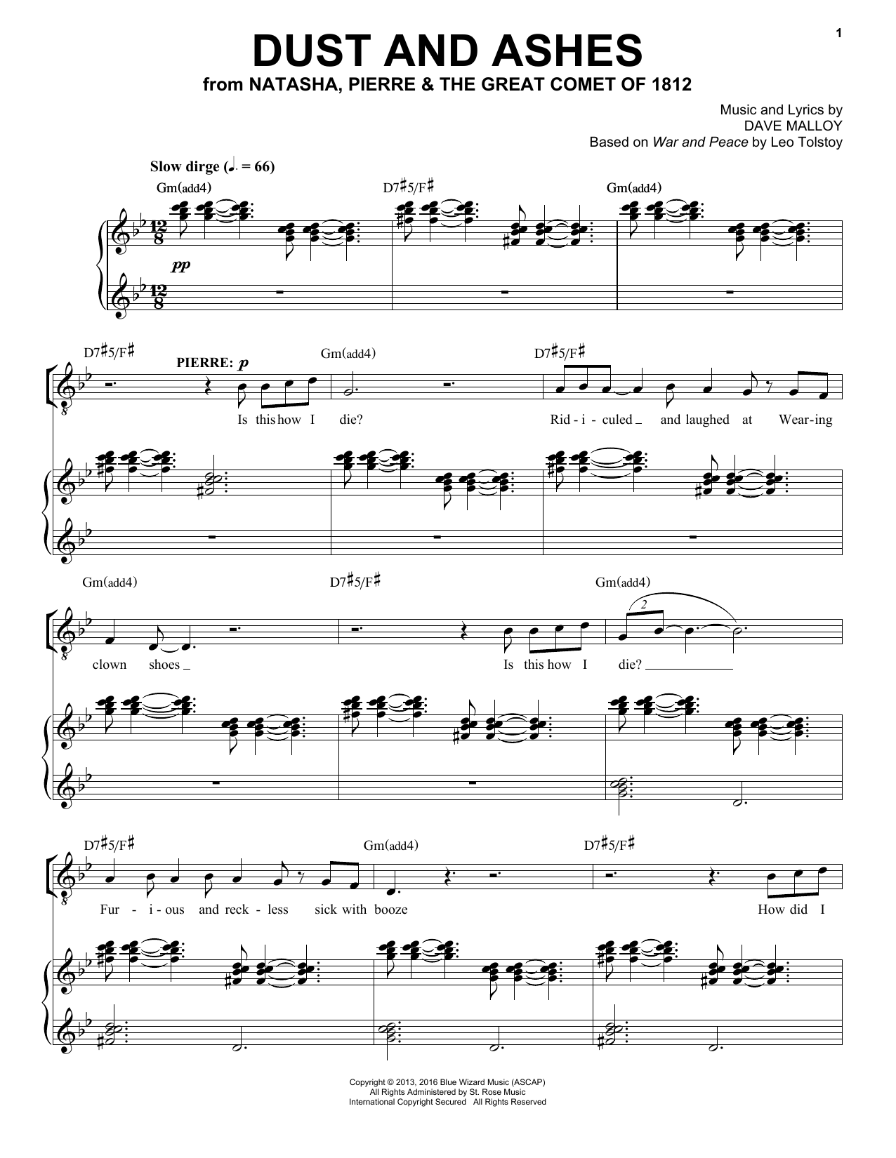 Dust And Ashes (Piano & Vocal)