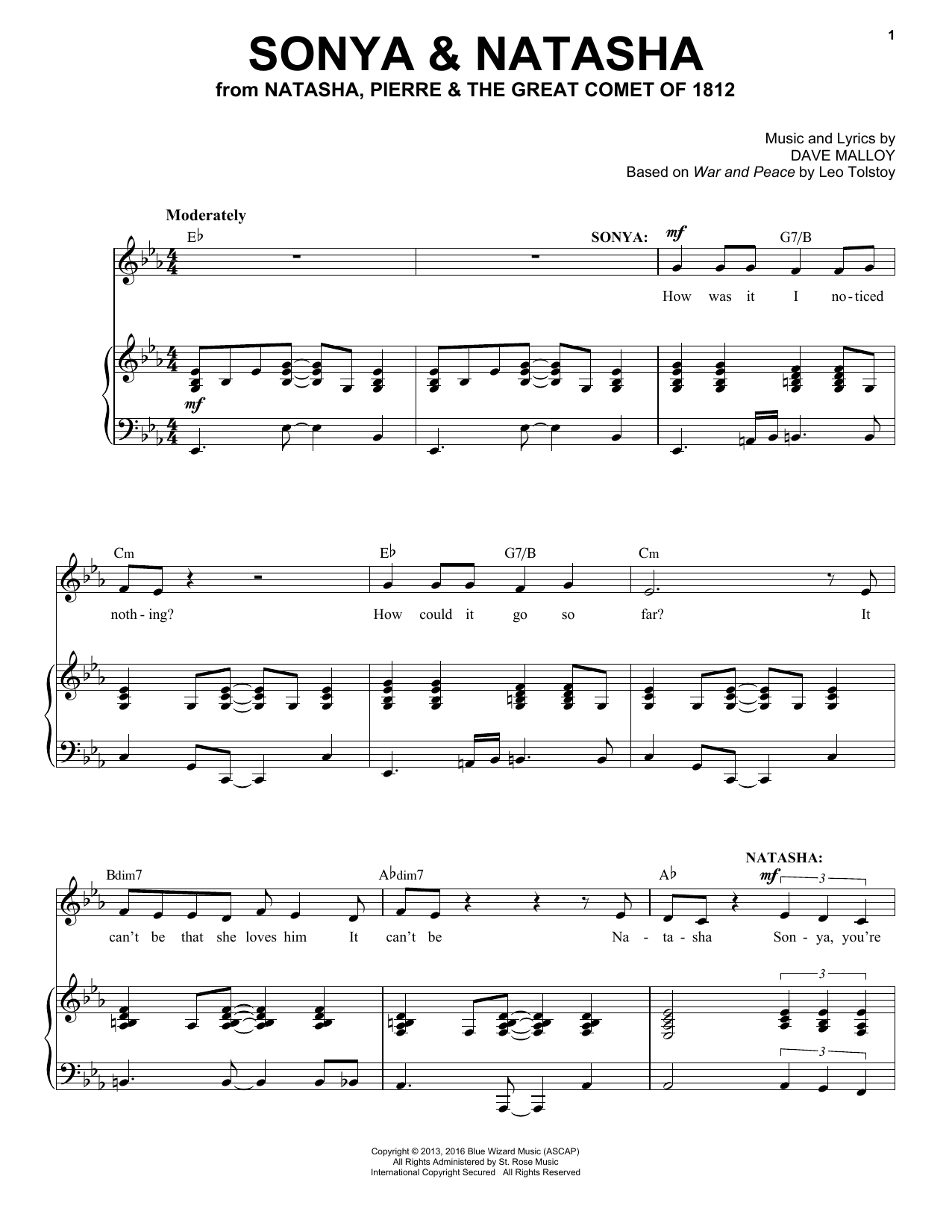 Sonya & Natasha (from Natasha, Pierre & The Great Comet of 1812) (Piano & Vocal)
