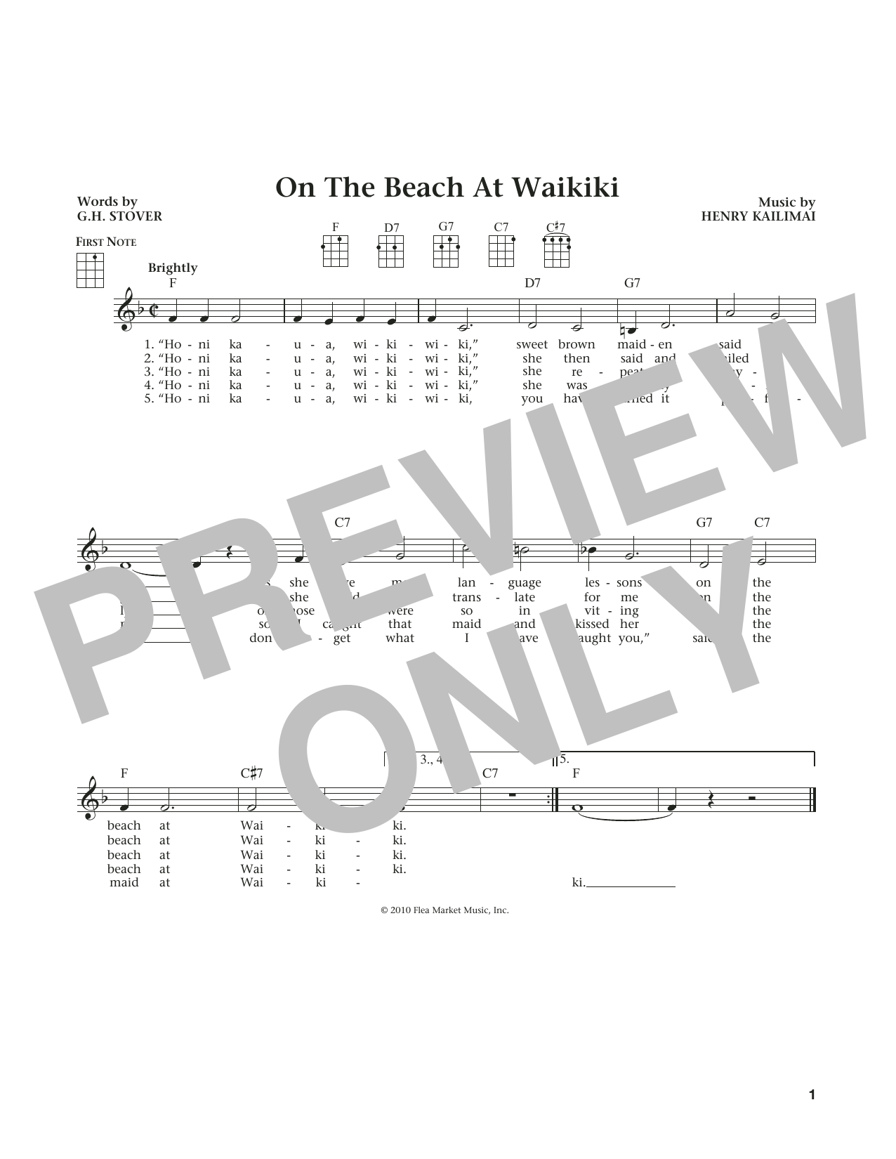 On The Beach At Waikiki (from The Daily Ukulele) (arr. Liz and Jim Beloff) (Ukulele)