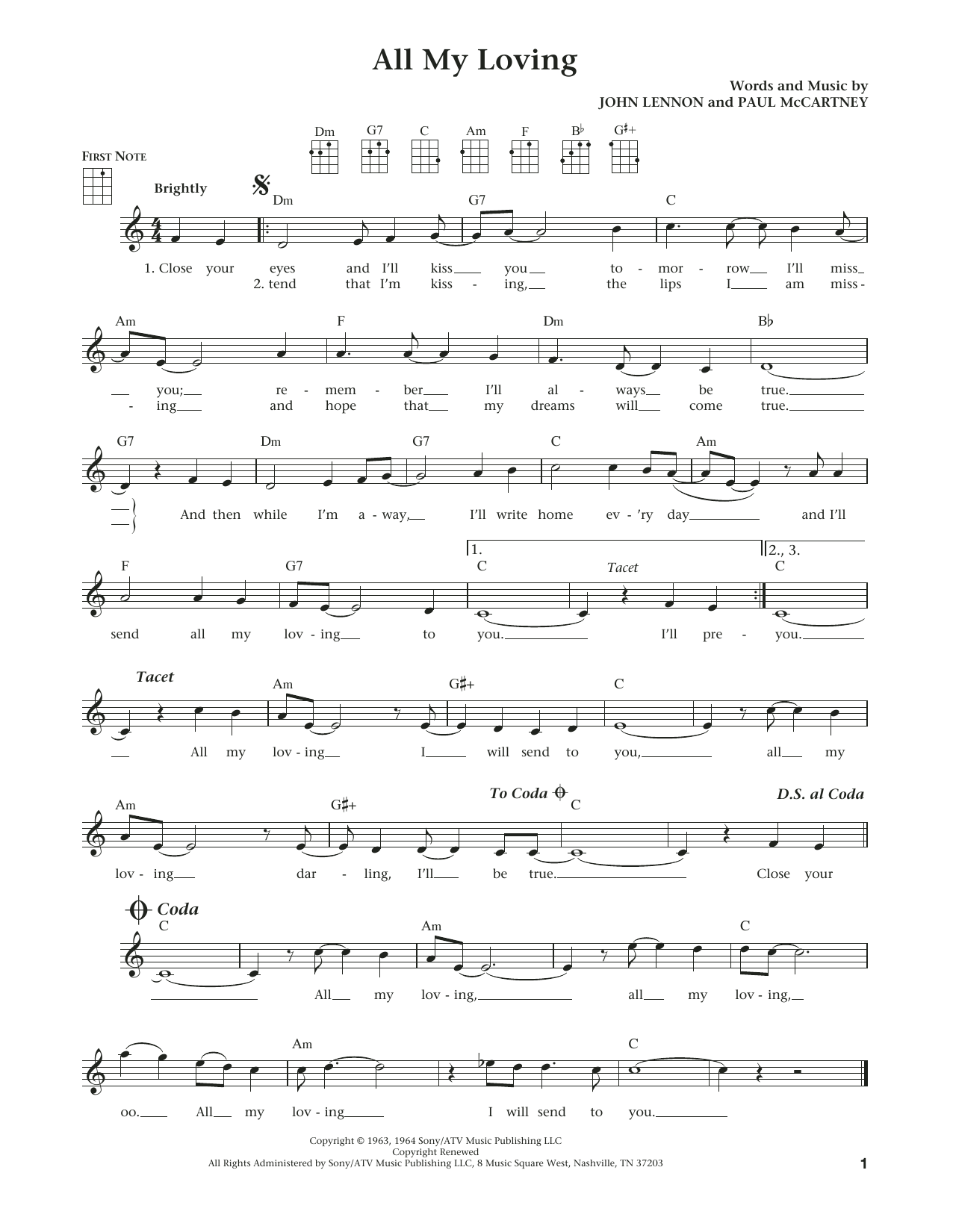 All My Loving (from The Daily Ukulele) (arr. Liz and Jim Beloff) (Ukulele)