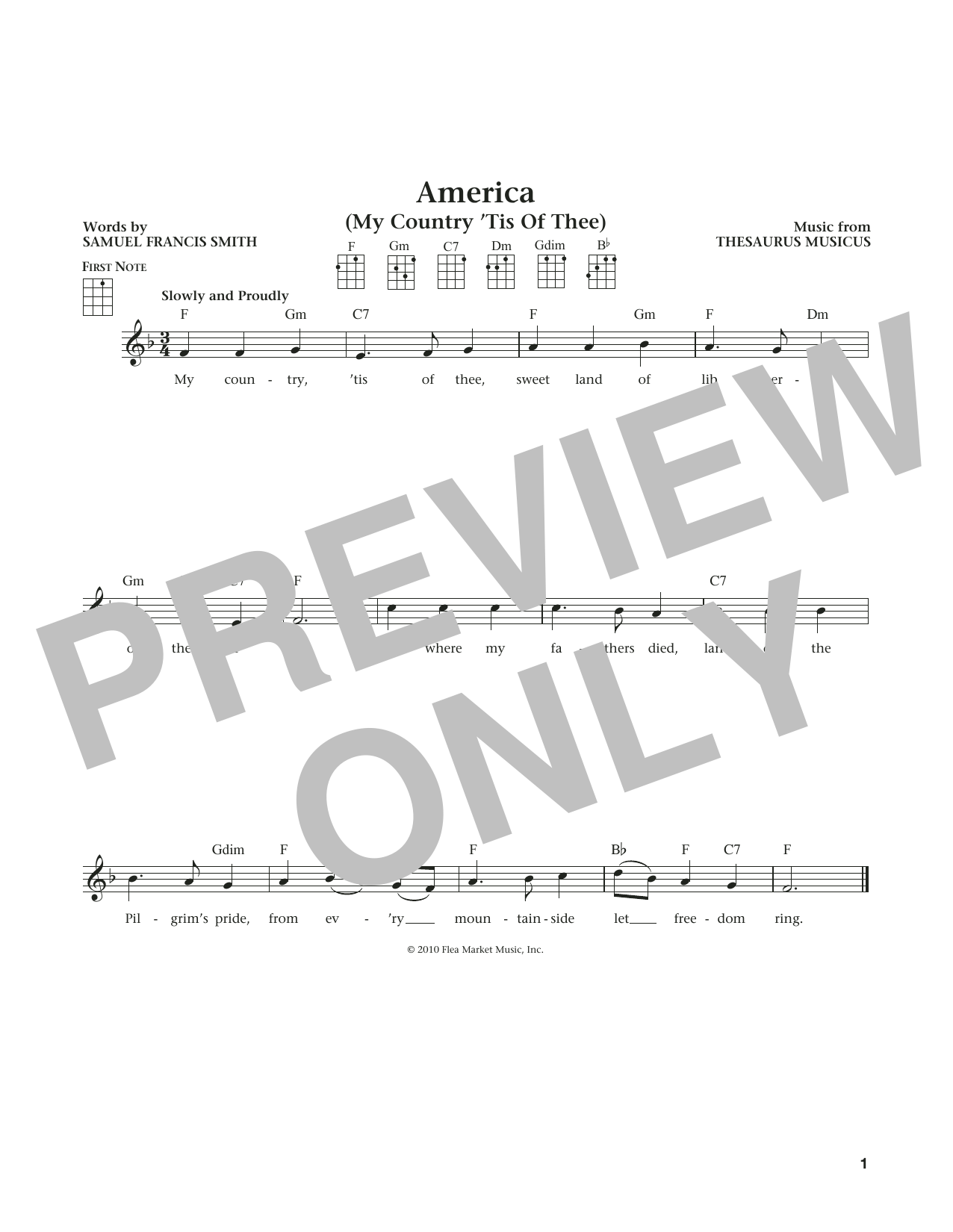 My Country, 'Tis Of Thee (America) (from The Daily Ukulele) (arr. Liz and Jim Beloff) (Ukulele)