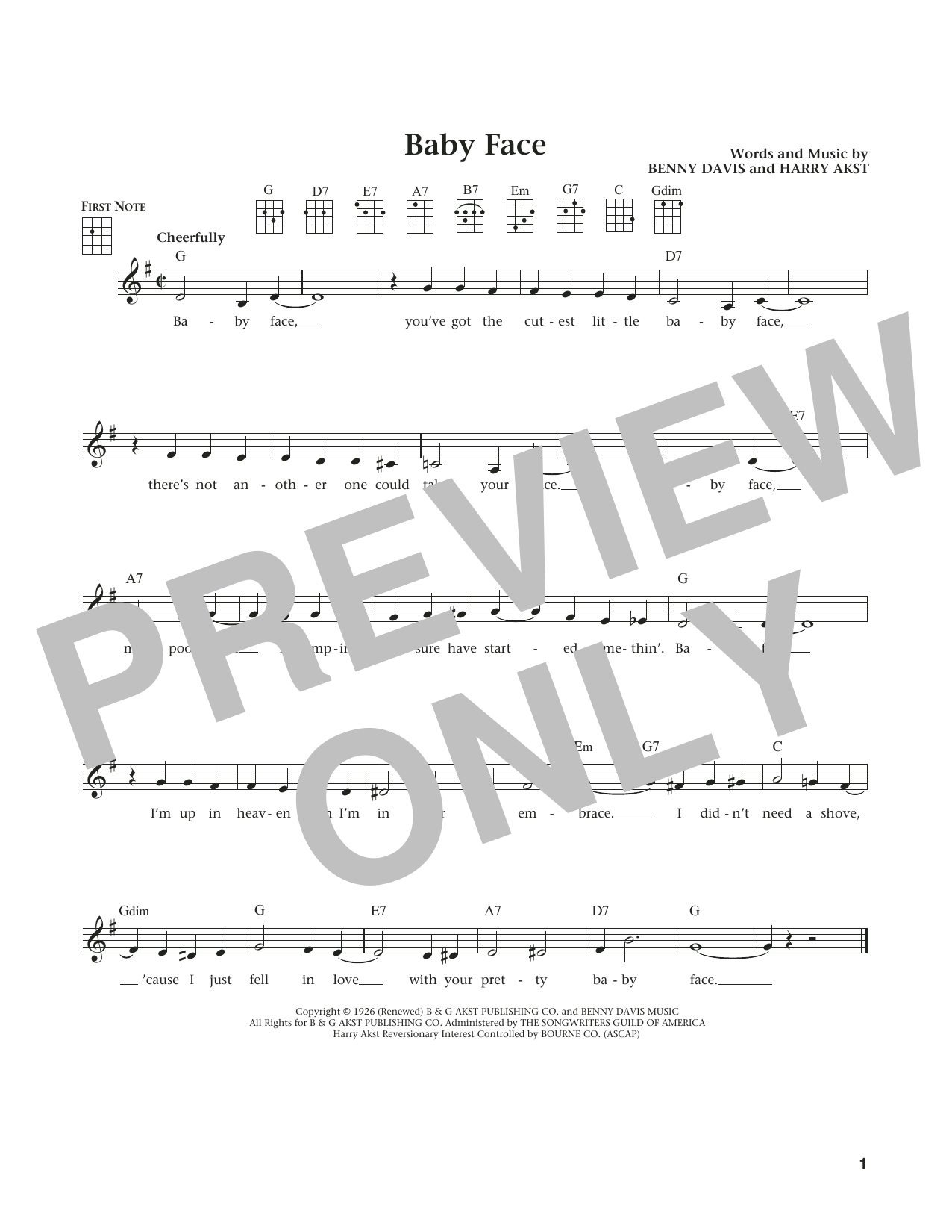 Baby Face (from The Daily Ukulele) (arr. Liz and Jim Beloff) (Ukulele)