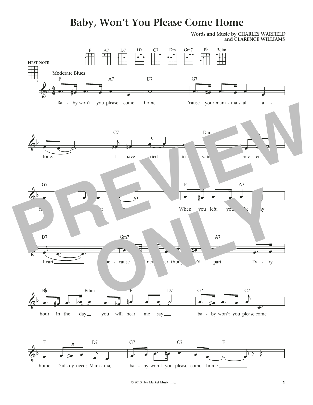 Baby, Won't You Please Come Home (from The Daily Ukulele) (arr. Liz and Jim Beloff) (Ukulele)