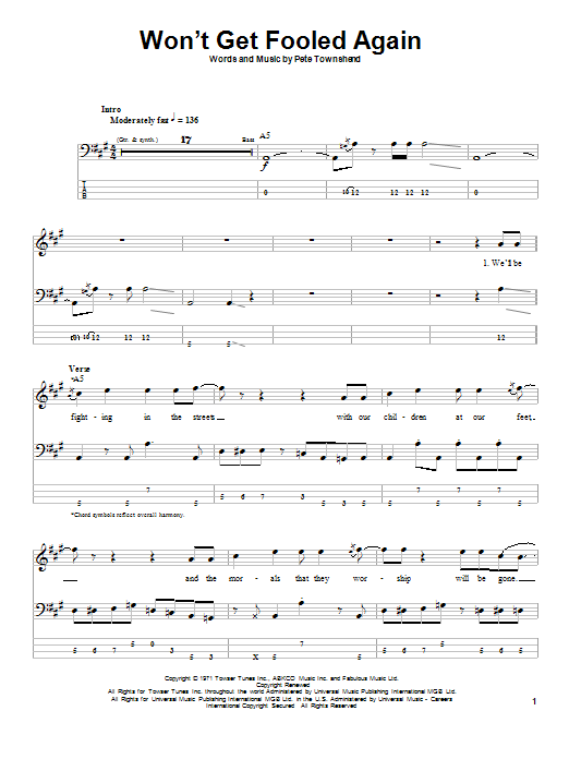 Tablature guitare Won't Get Fooled Again de The Who - Tablature Basse
