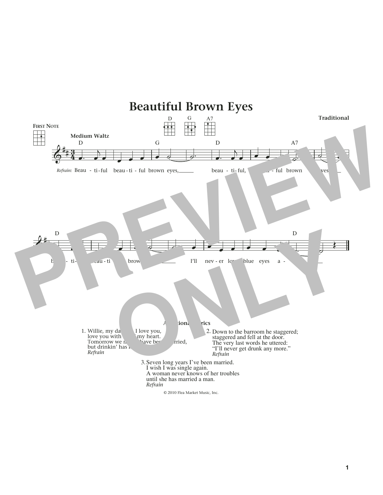 Beautiful Brown Eyes (from The Daily Ukulele) (arr. Liz and Jim Beloff) (Ukulele)