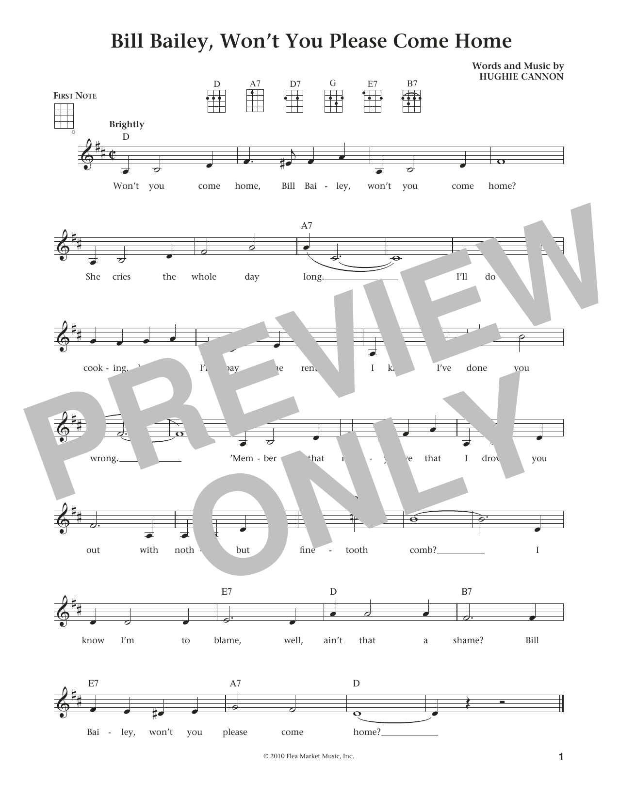 Bill Bailey, Won't You Please Come Home (from The Daily Ukulele) (arr. Liz and Jim Beloff) (Ukulele)