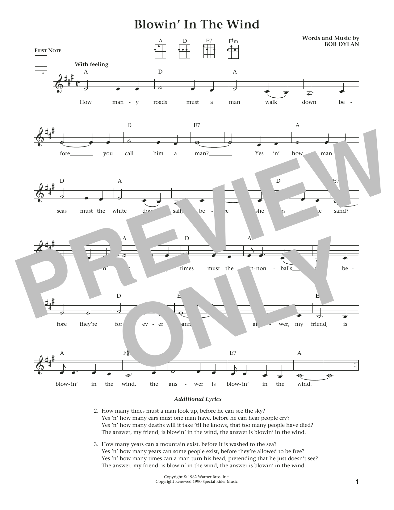 Blowin' In The Wind (from The Daily Ukulele) (arr. Liz and Jim Beloff) (Ukulele)
