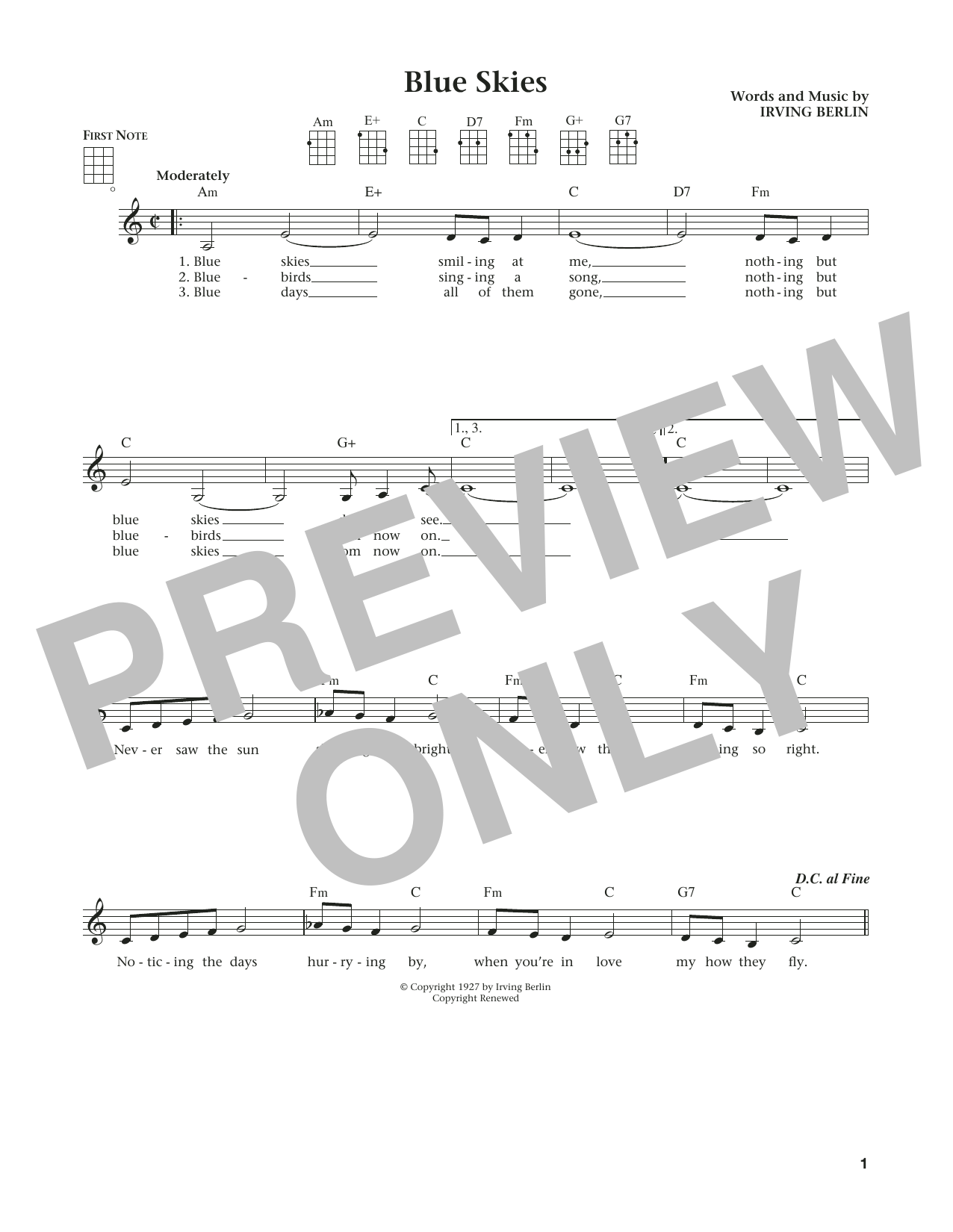 Blue Skies (from The Daily Ukulele) (arr. Liz and Jim Beloff) (Ukulele)