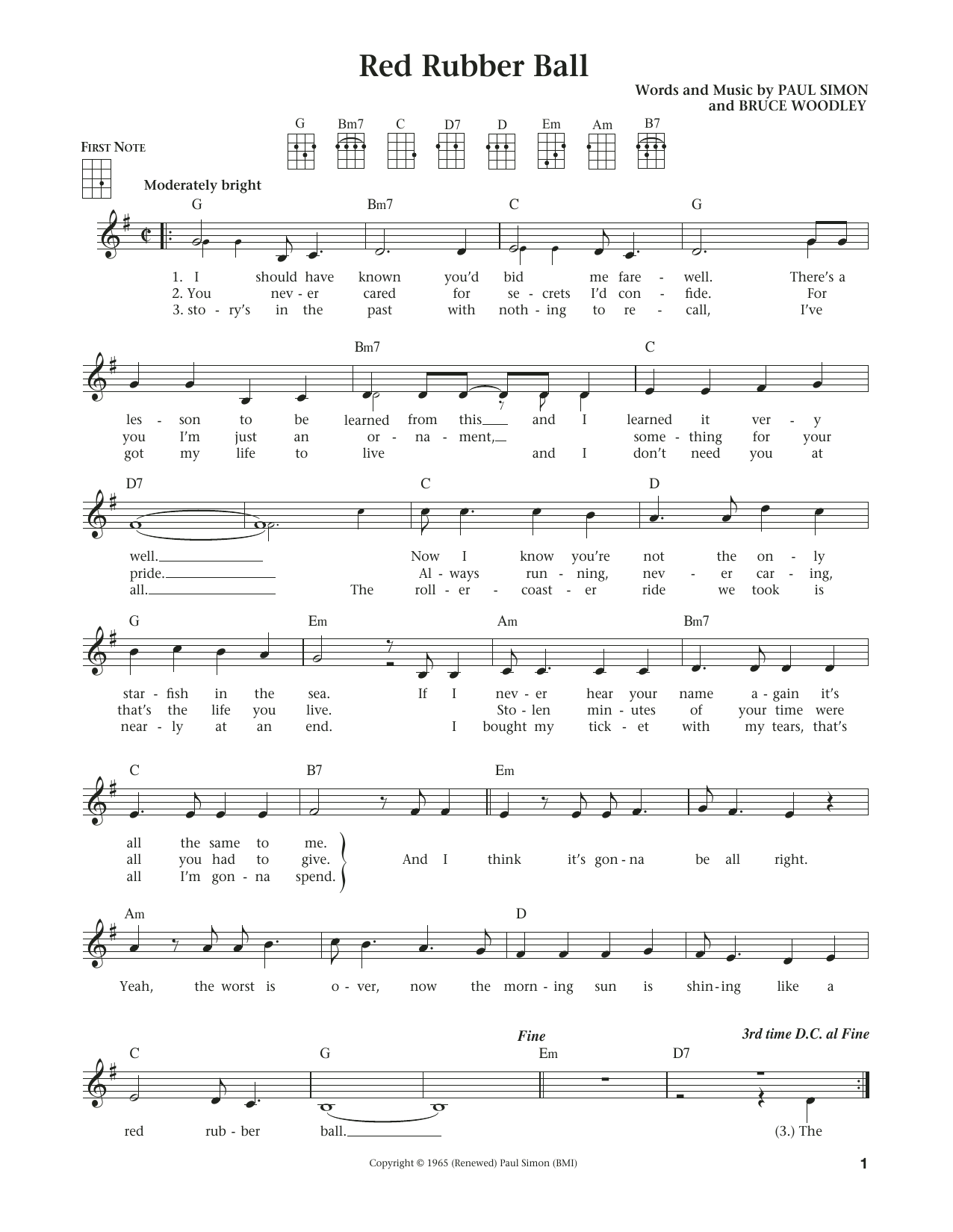 Sheet Music Digital Files To Print - Licensed Paul Simon