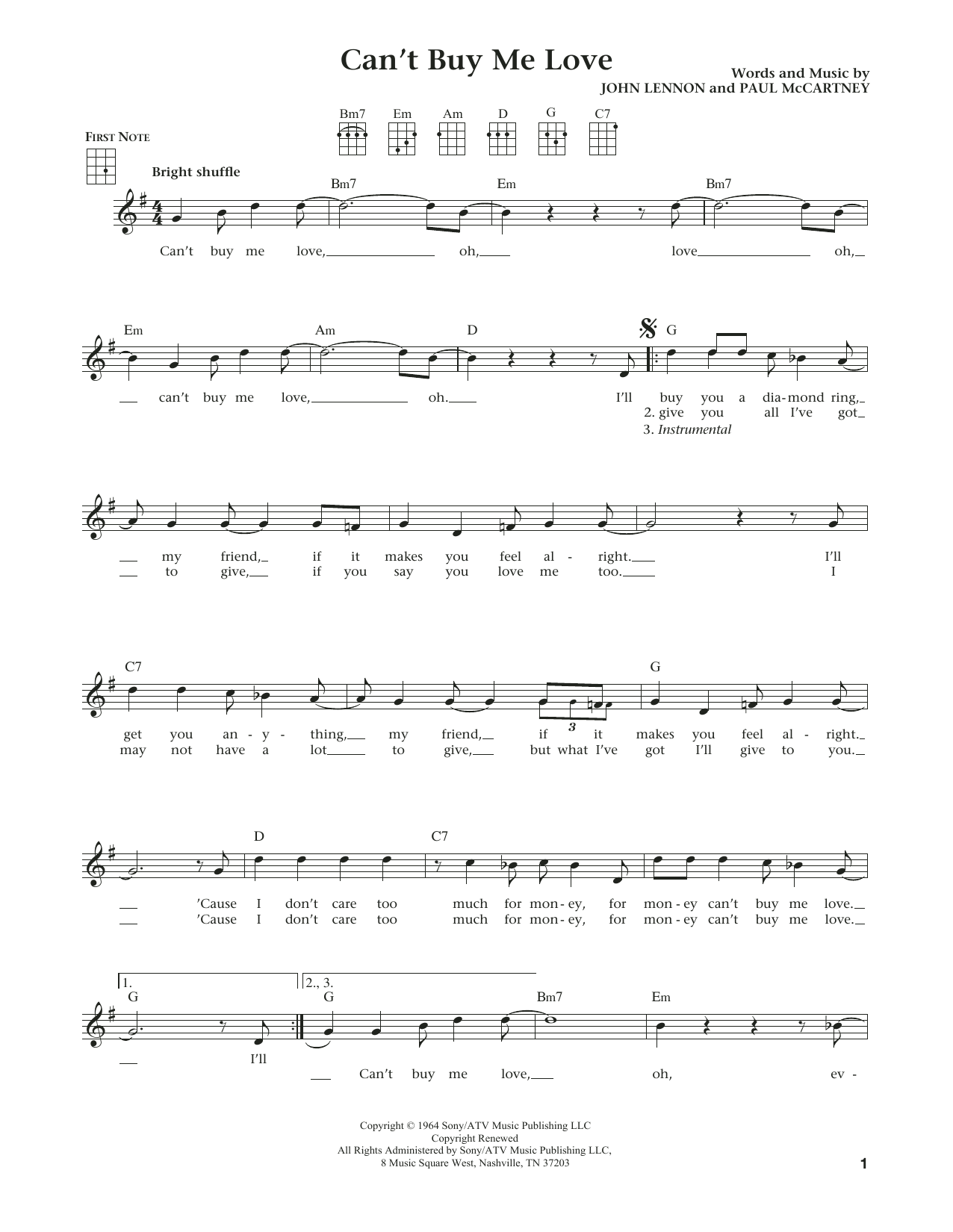 Can't Buy Me Love (from The Daily Ukulele) (arr. Liz and Jim Beloff) (Ukulele)