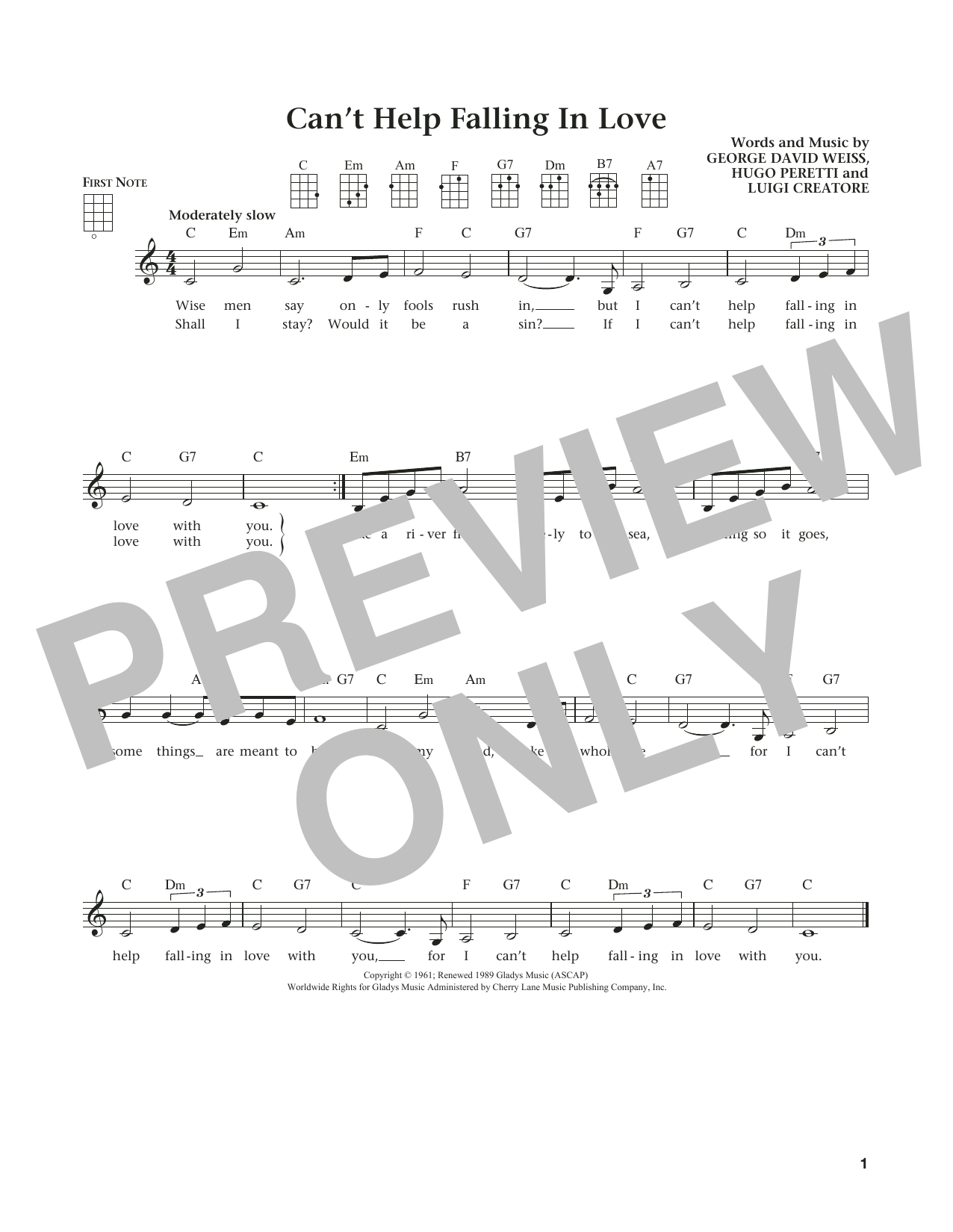 Can't Help Falling In Love (from The Daily Ukulele) (arr. Liz and Jim Beloff) (Ukulele)