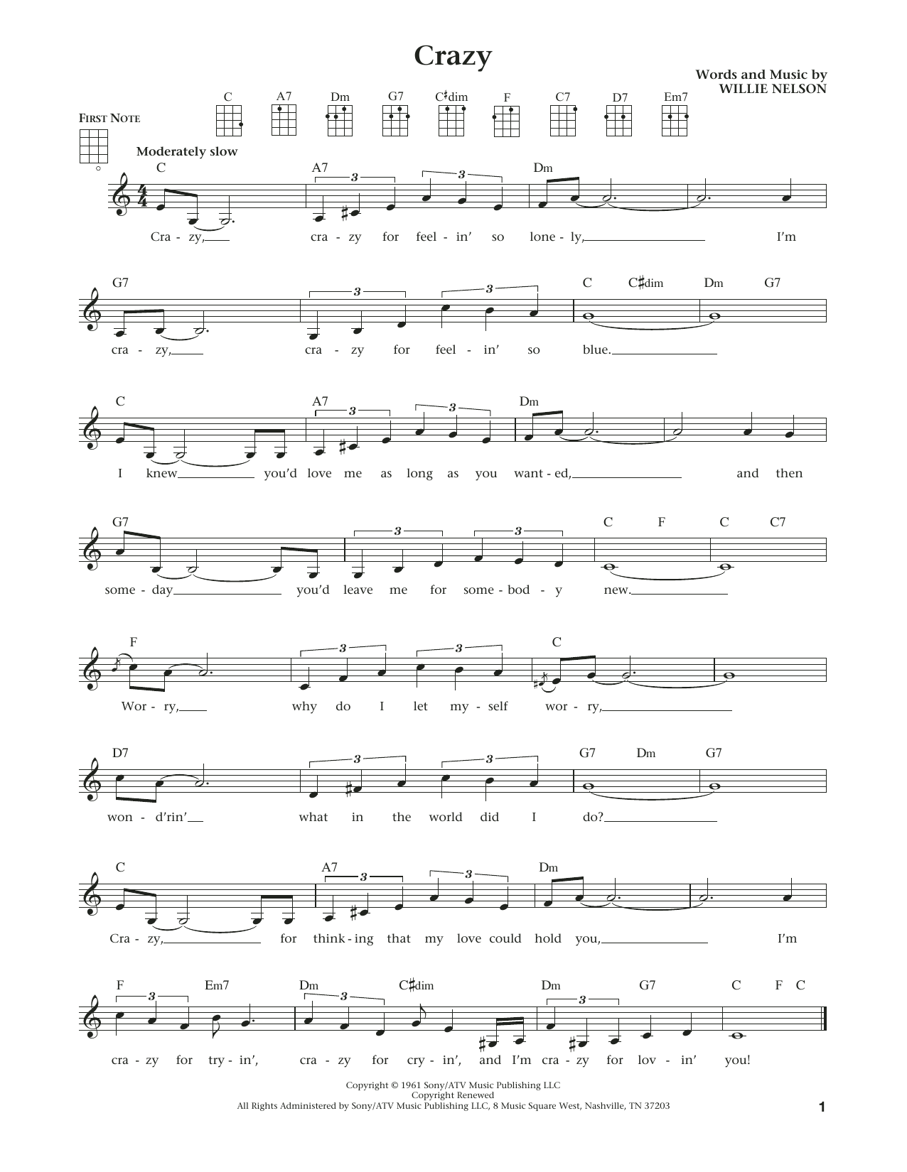 Crazy (from The Daily Ukulele) (arr. Liz and Jim Beloff) (Ukulele)