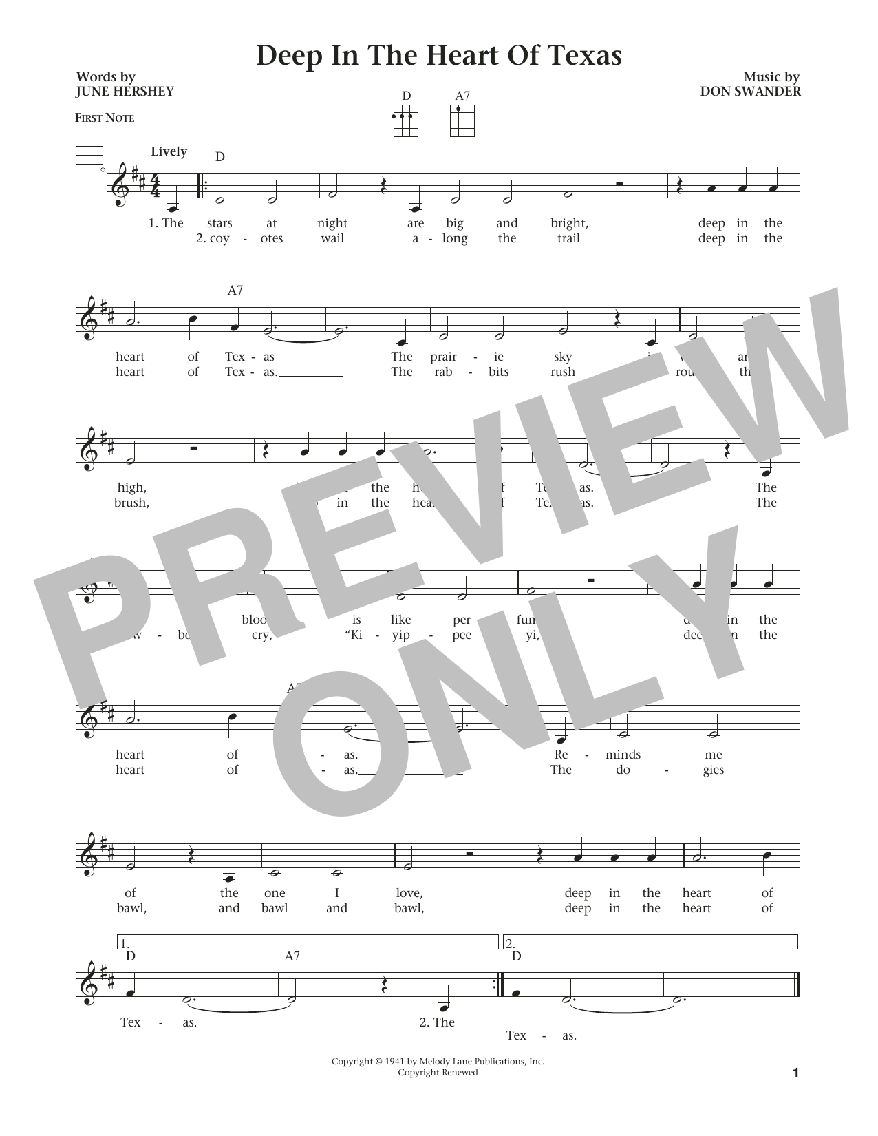 Deep In The Heart Of Texas (from The Daily Ukulele) (arr. Liz and Jim Beloff) (Ukulele)