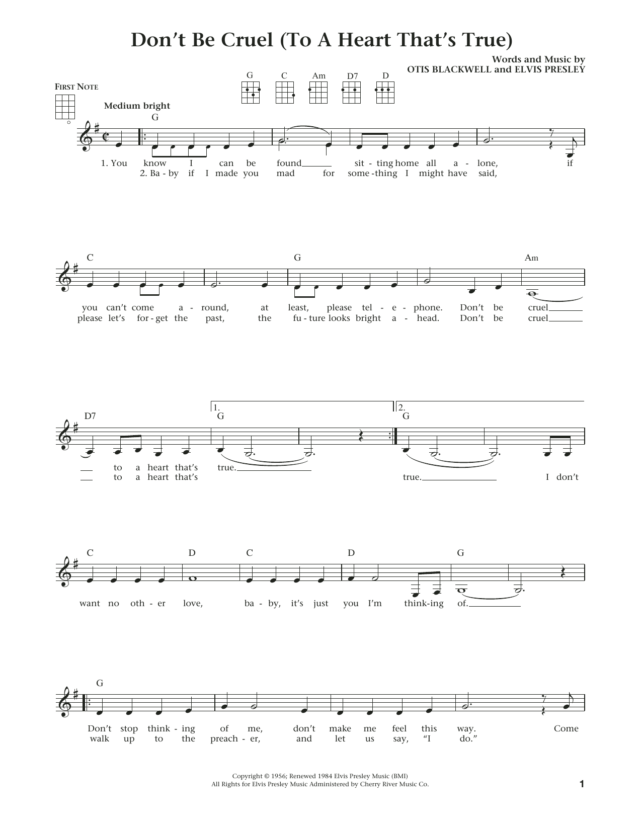 Don't Be Cruel (To A Heart That's True) (from The Daily Ukulele) (arr. Liz and Jim Beloff) (Ukulele)