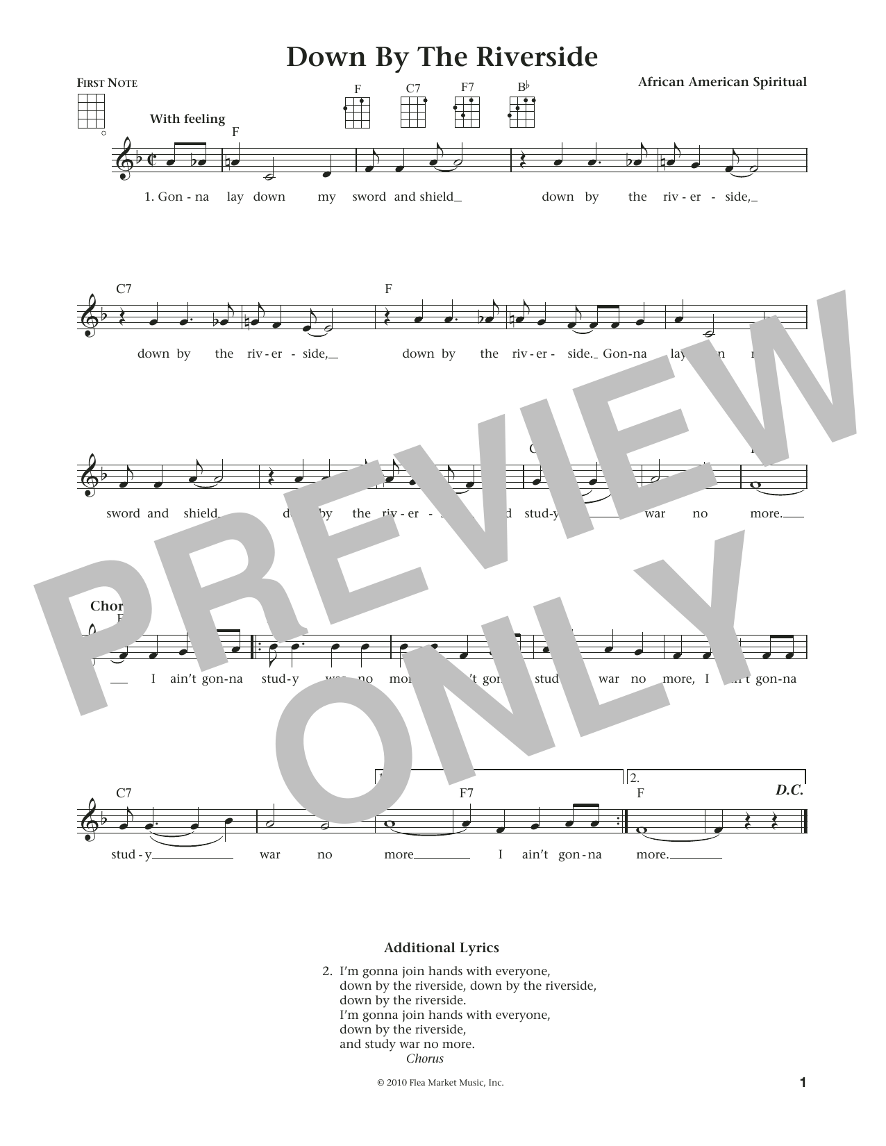 Down By The Riverside (from The Daily Ukulele) (arr. Liz and Jim Beloff) (Ukulele)