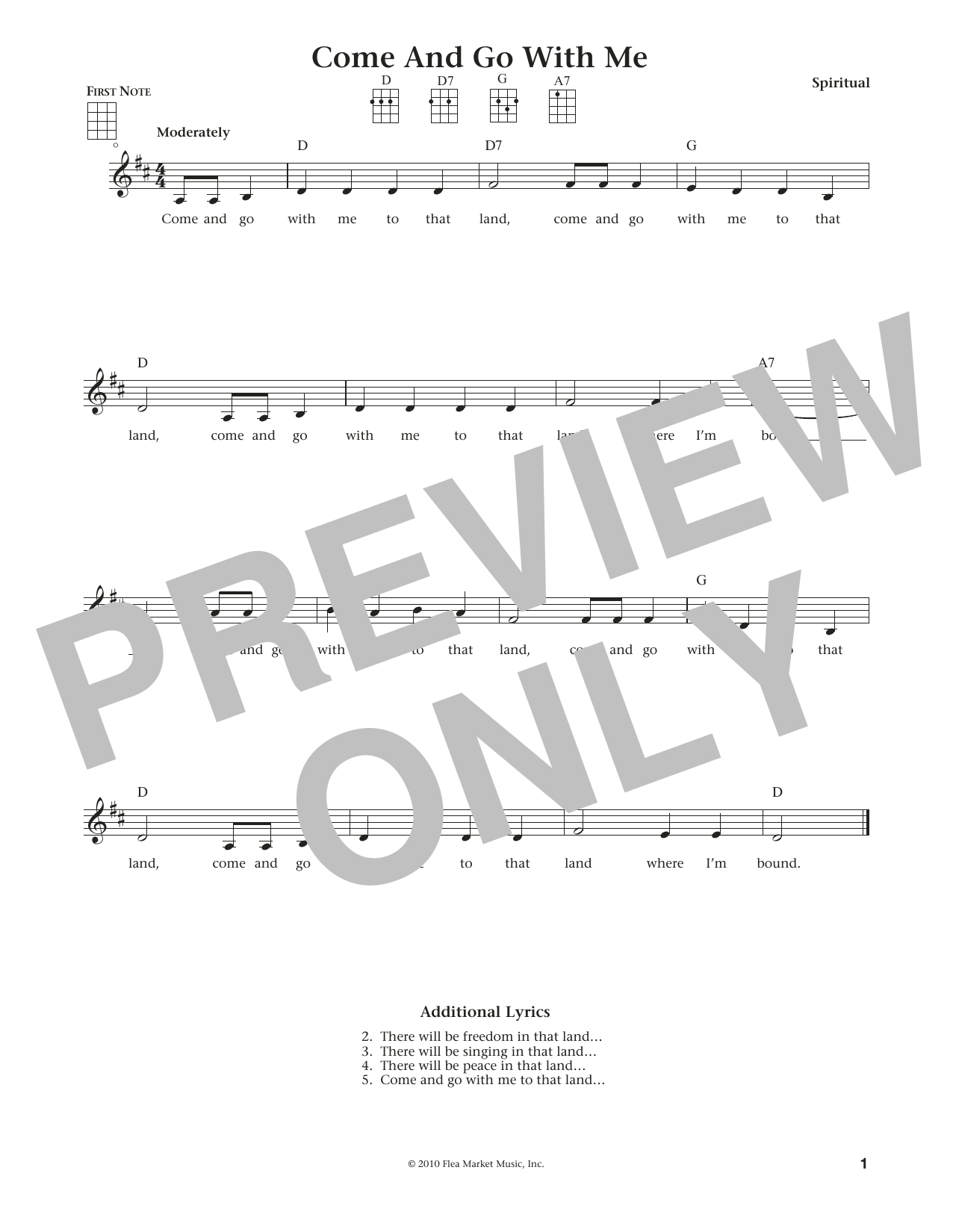 Come And Go With Me (from The Daily Ukulele) (arr. Liz and Jim Beloff) (Ukulele)