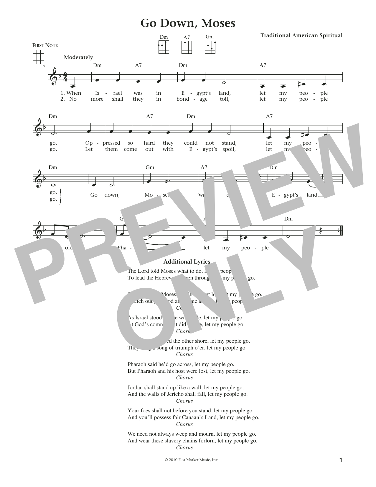 Go Down, Moses (from The Daily Ukulele) (arr. Liz and Jim Beloff) (Ukulele)