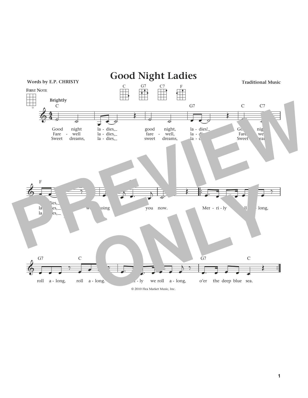 Good Night Ladies (from The Daily Ukulele) (arr. Liz and Jim Beloff) (Ukulele)