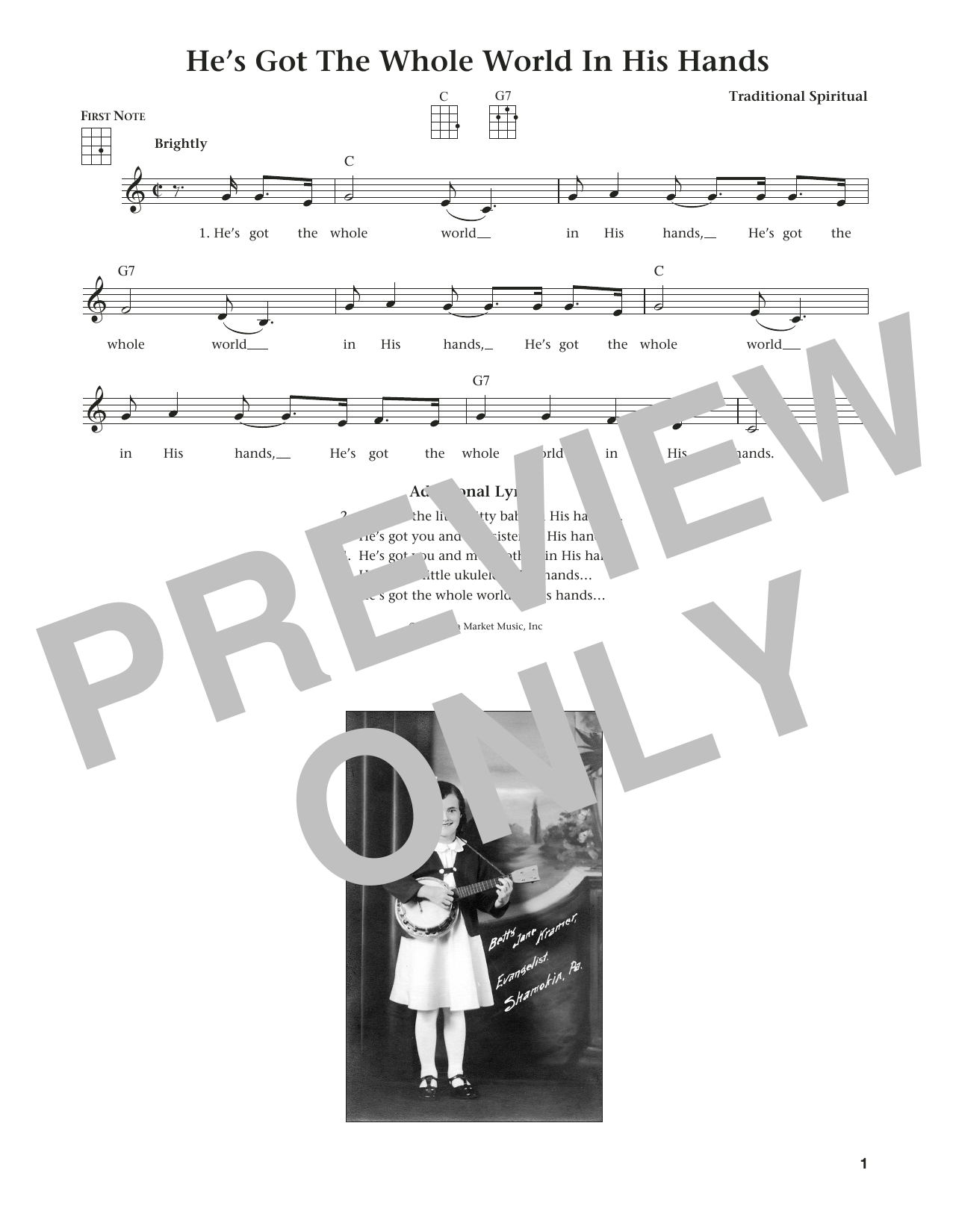 He's Got The Whole World In His Hands (from The Daily Ukulele) (arr. Liz and Jim Beloff) (Ukulele)