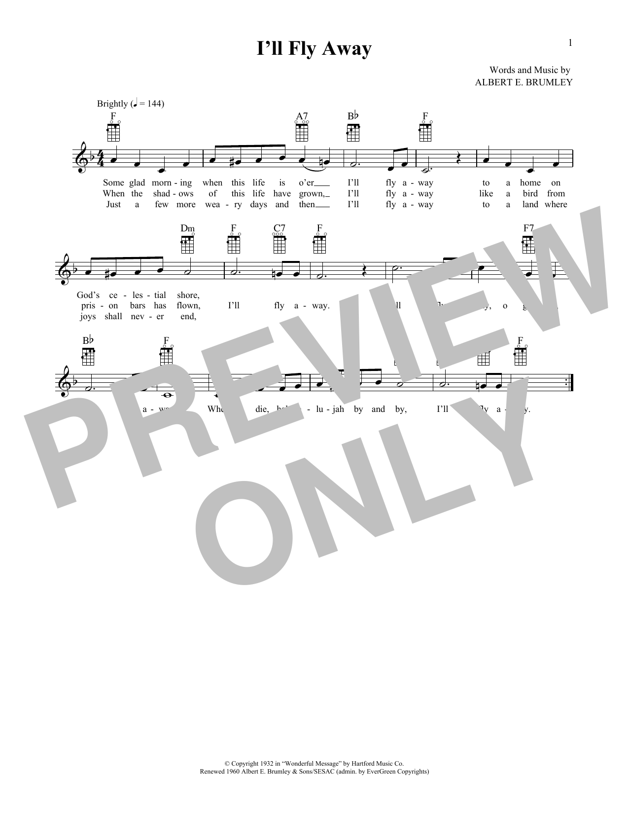 I'll Fly Away (from The Daily Ukulele) (arr. Liz and Jim Beloff) (Ukulele)