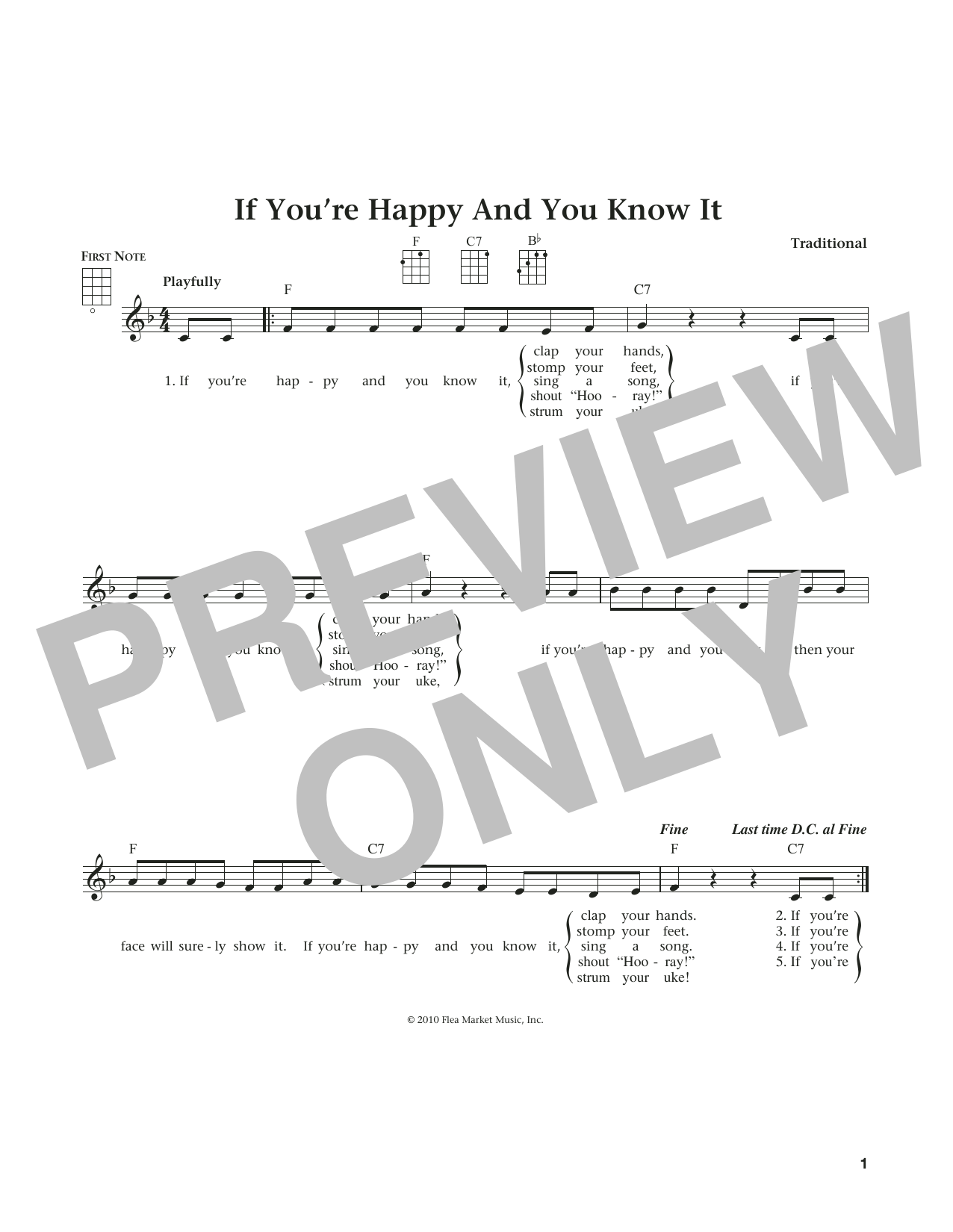 If You're Happy And You Know It (from The Daily Ukulele) (arr. Liz and Jim Beloff) (Ukulele)