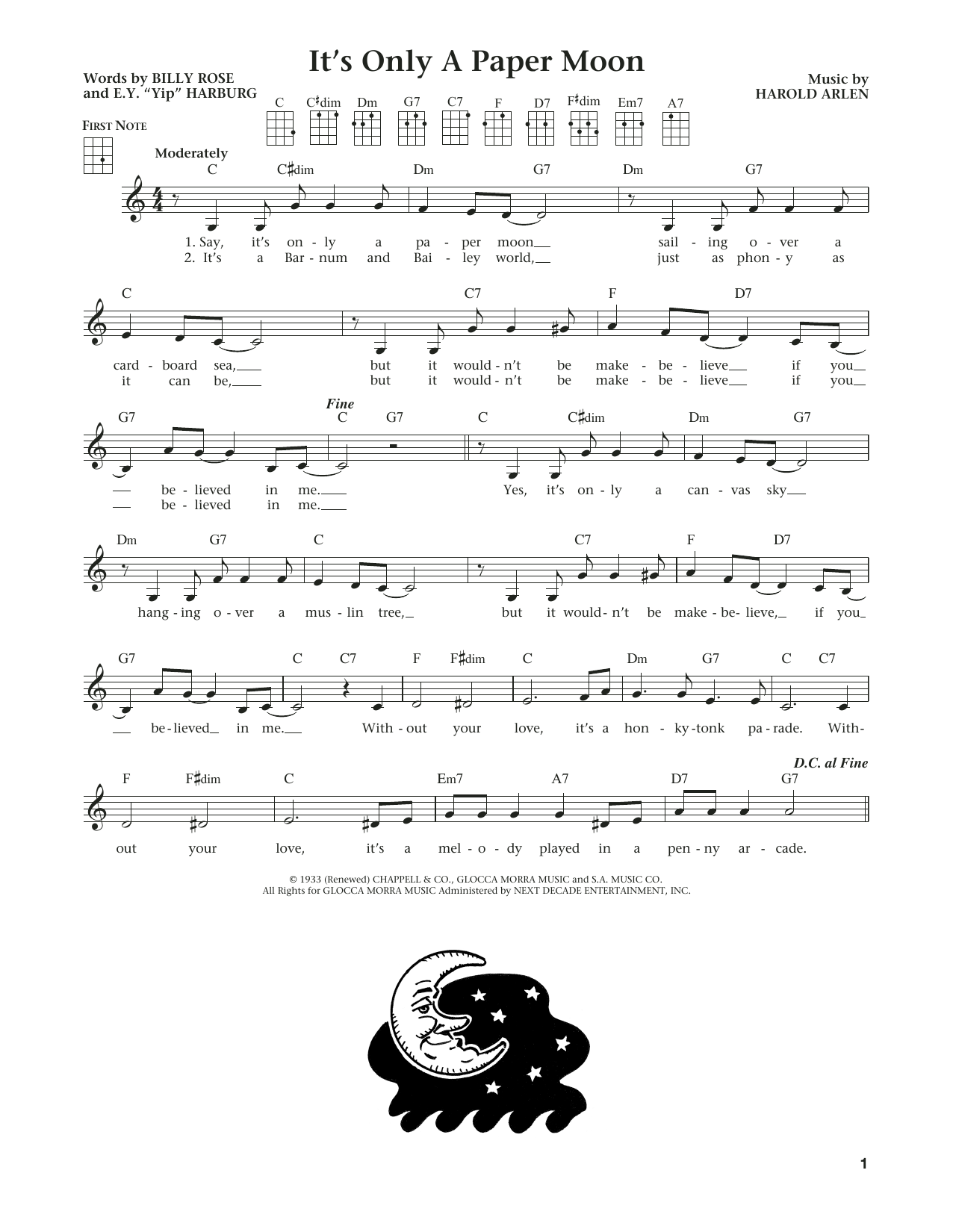 It's Only A Paper Moon (from The Daily Ukulele) (arr. Liz and Jim Beloff) (Ukulele)
